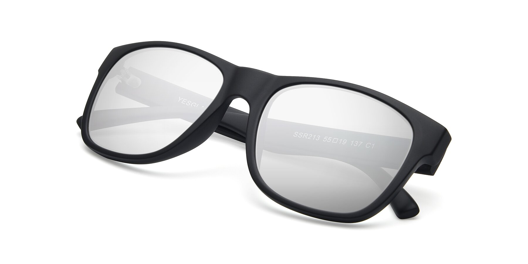View of SSR213 in Matte Black with Silver Mirrored Lenses