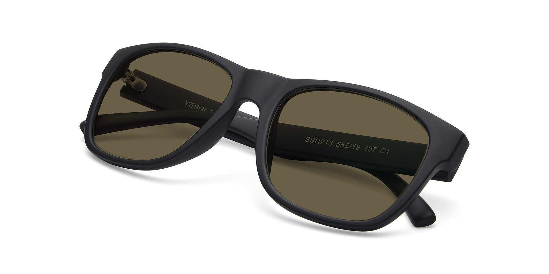 View of SSR213 in Matte Black with Brown Polarized Lenses