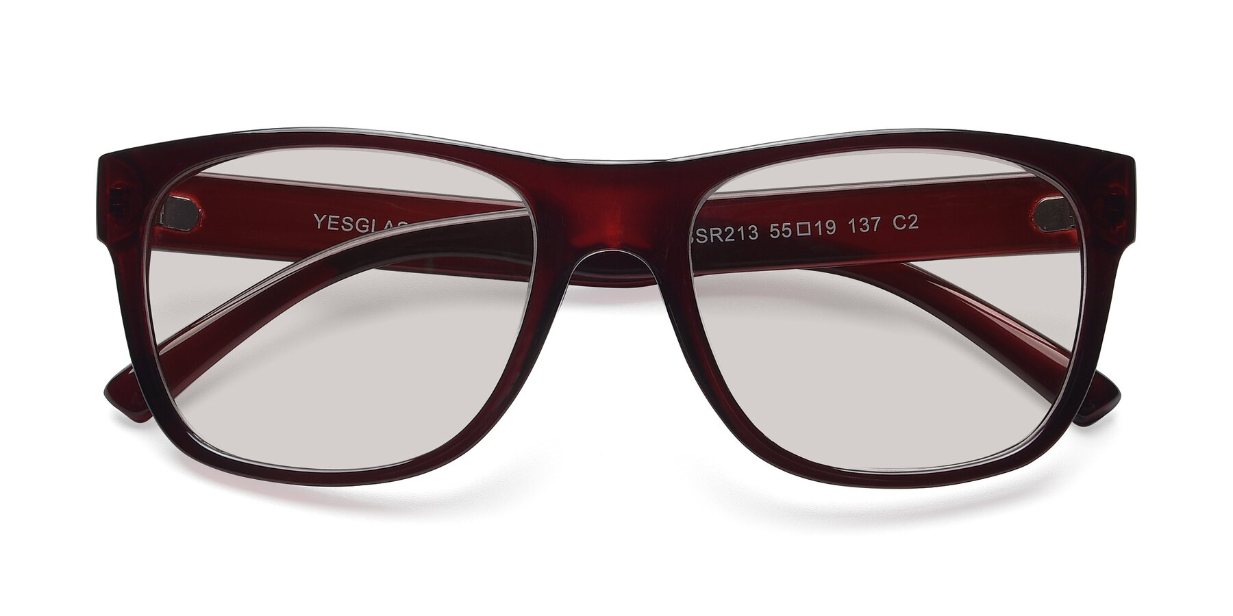Folded Front of SSR213 in Wine with Light Brown Tinted Lenses