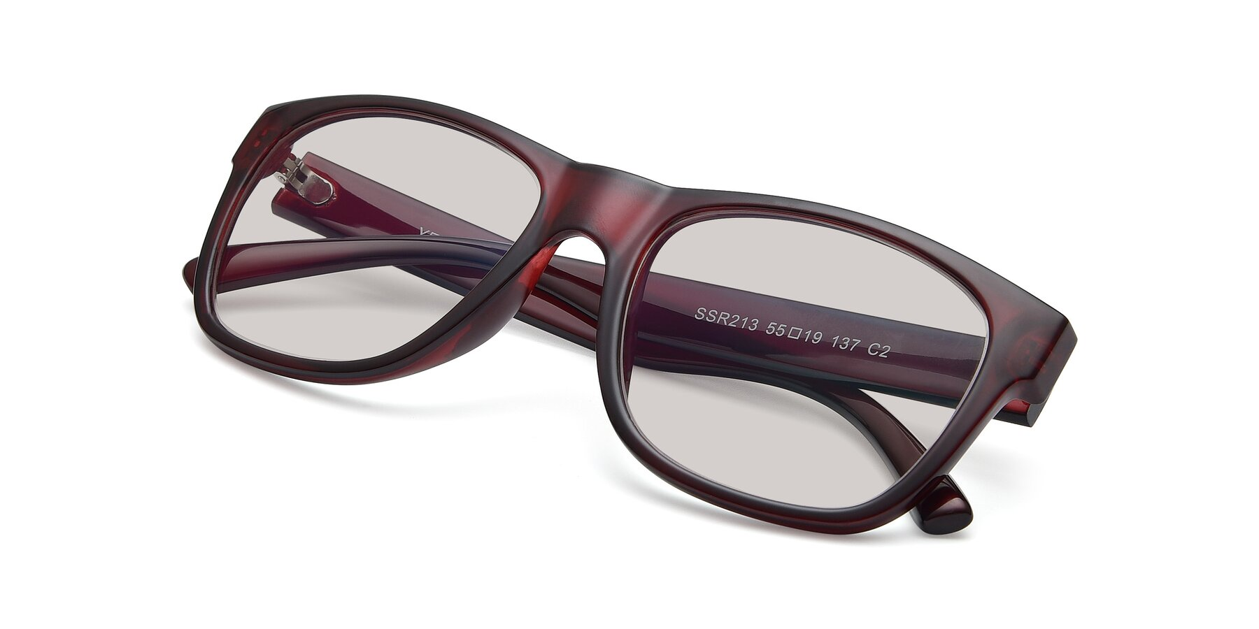 View of SSR213 in Wine with Light Brown Tinted Lenses