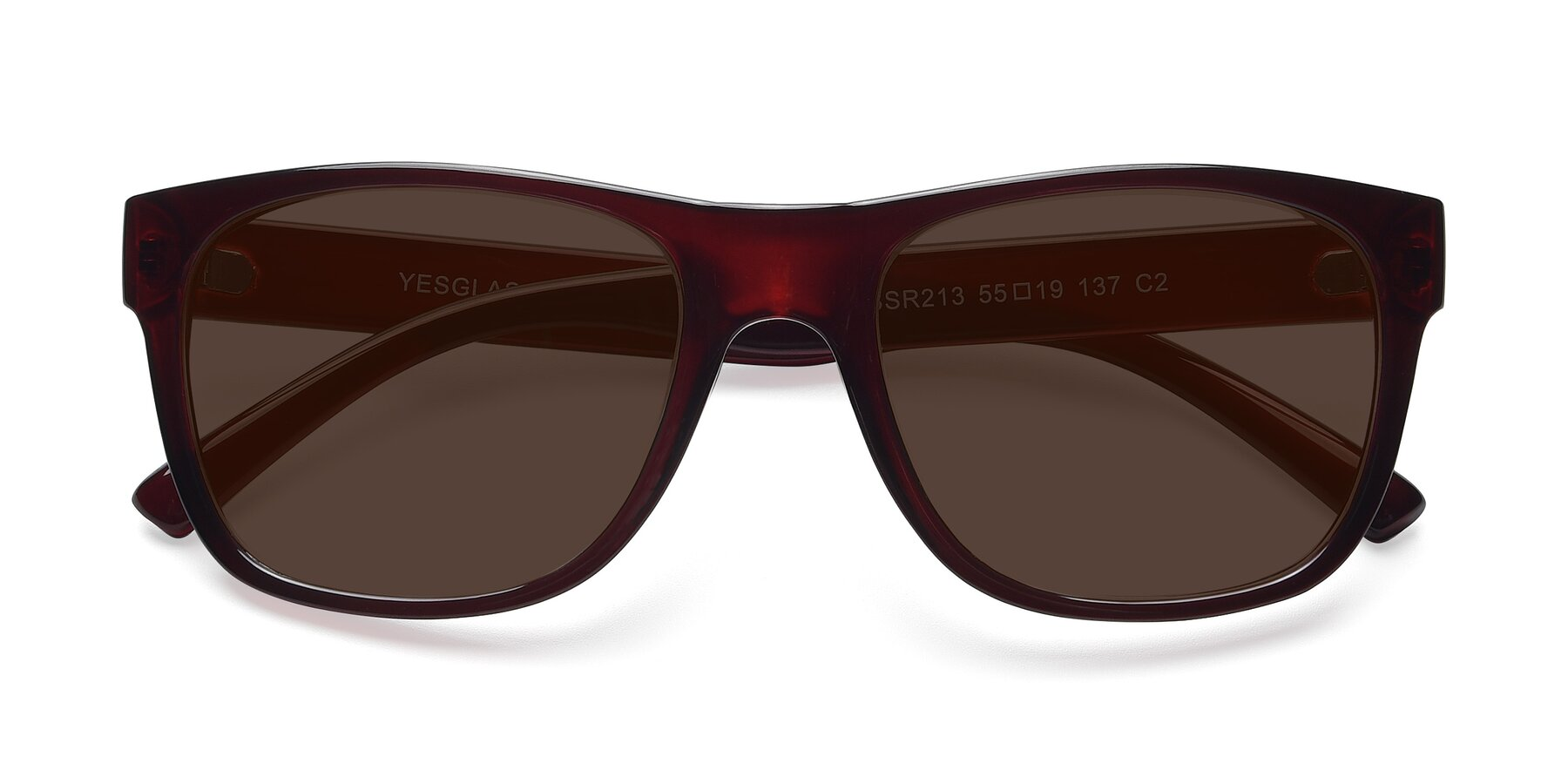 Folded Front of SSR213 in Wine with Brown Tinted Lenses