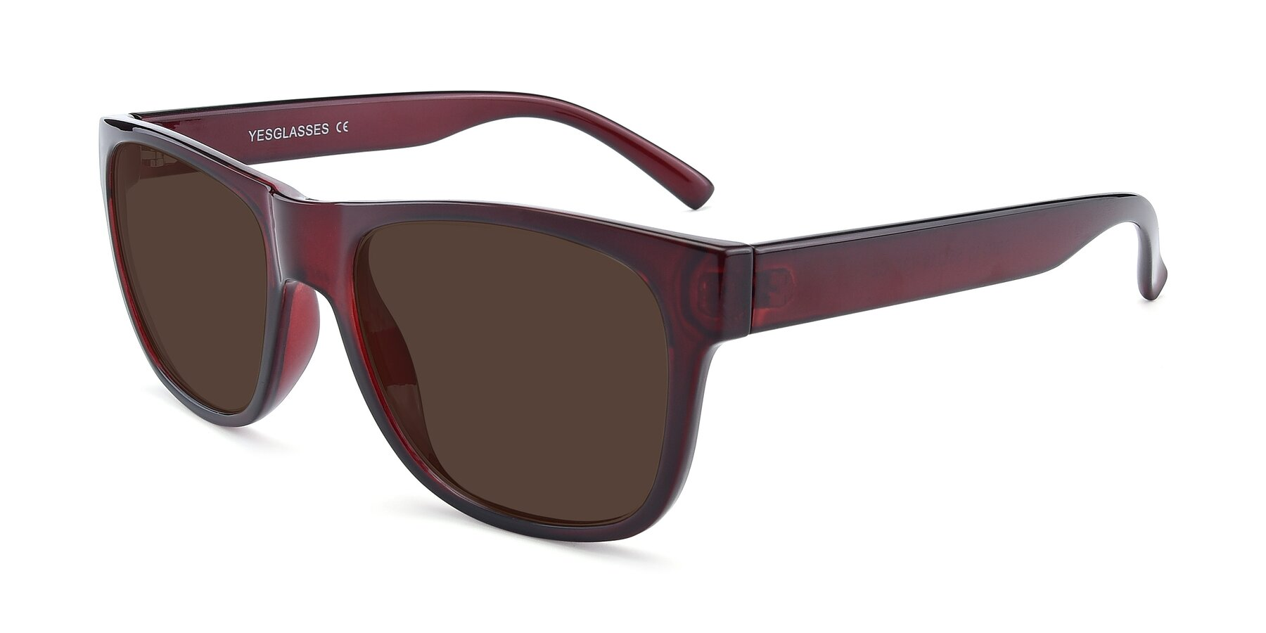 Angle of SSR213 in Wine with Brown Tinted Lenses