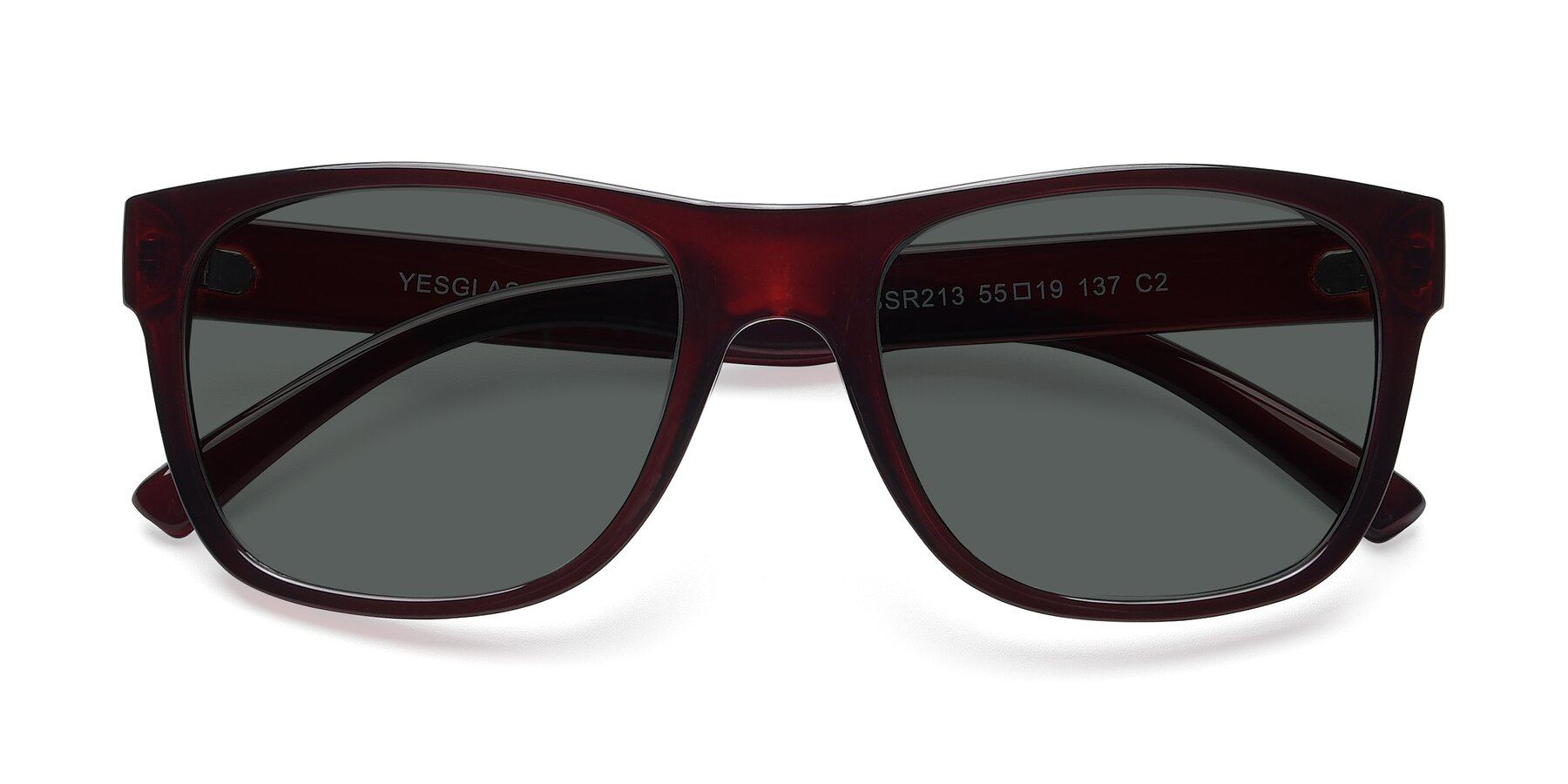 Folded Front of SSR213 in Wine with Gray Polarized Lenses