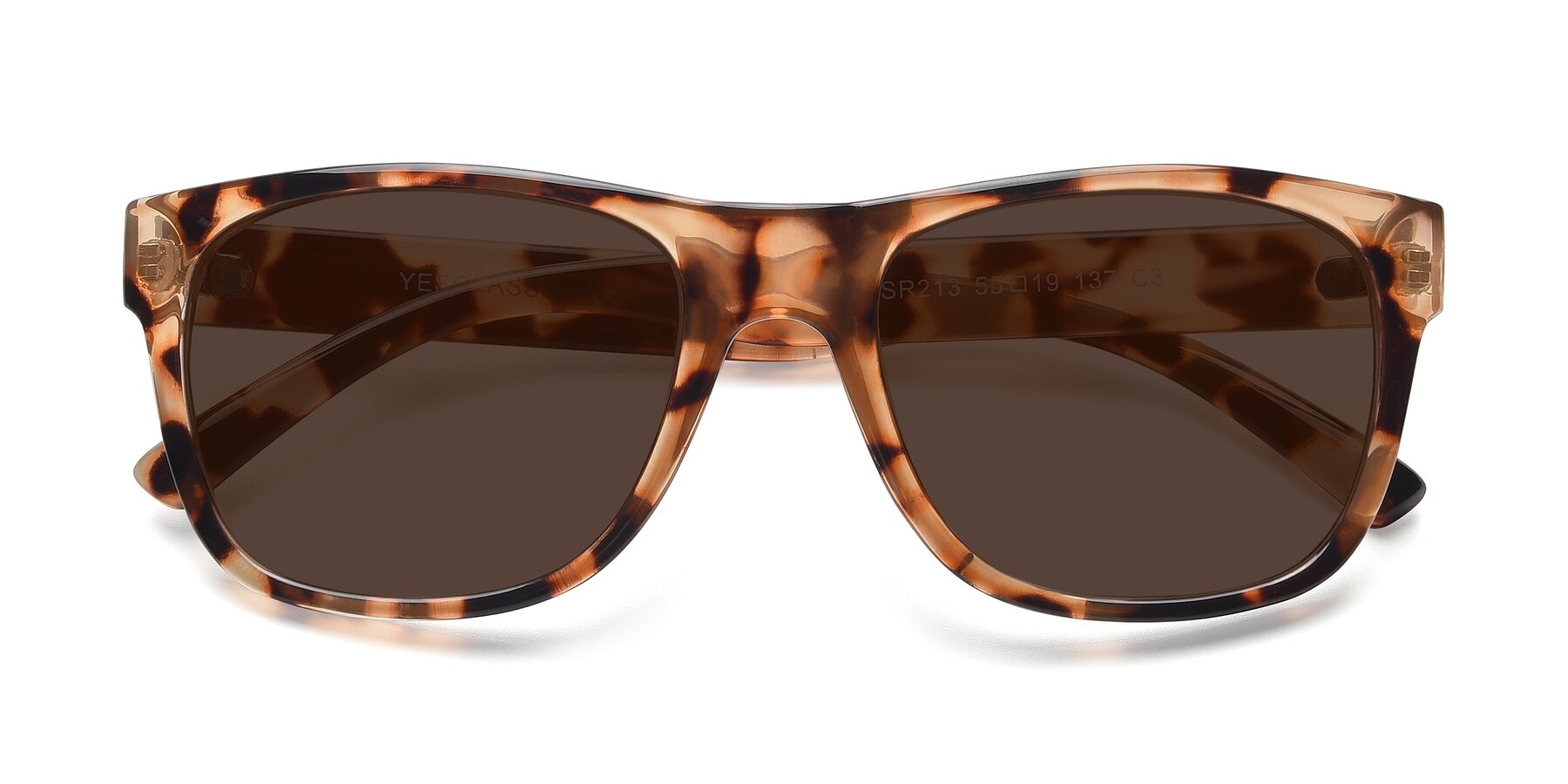 Folded Front of SSR213 in Translucent Tortoise with Brown Tinted Lenses
