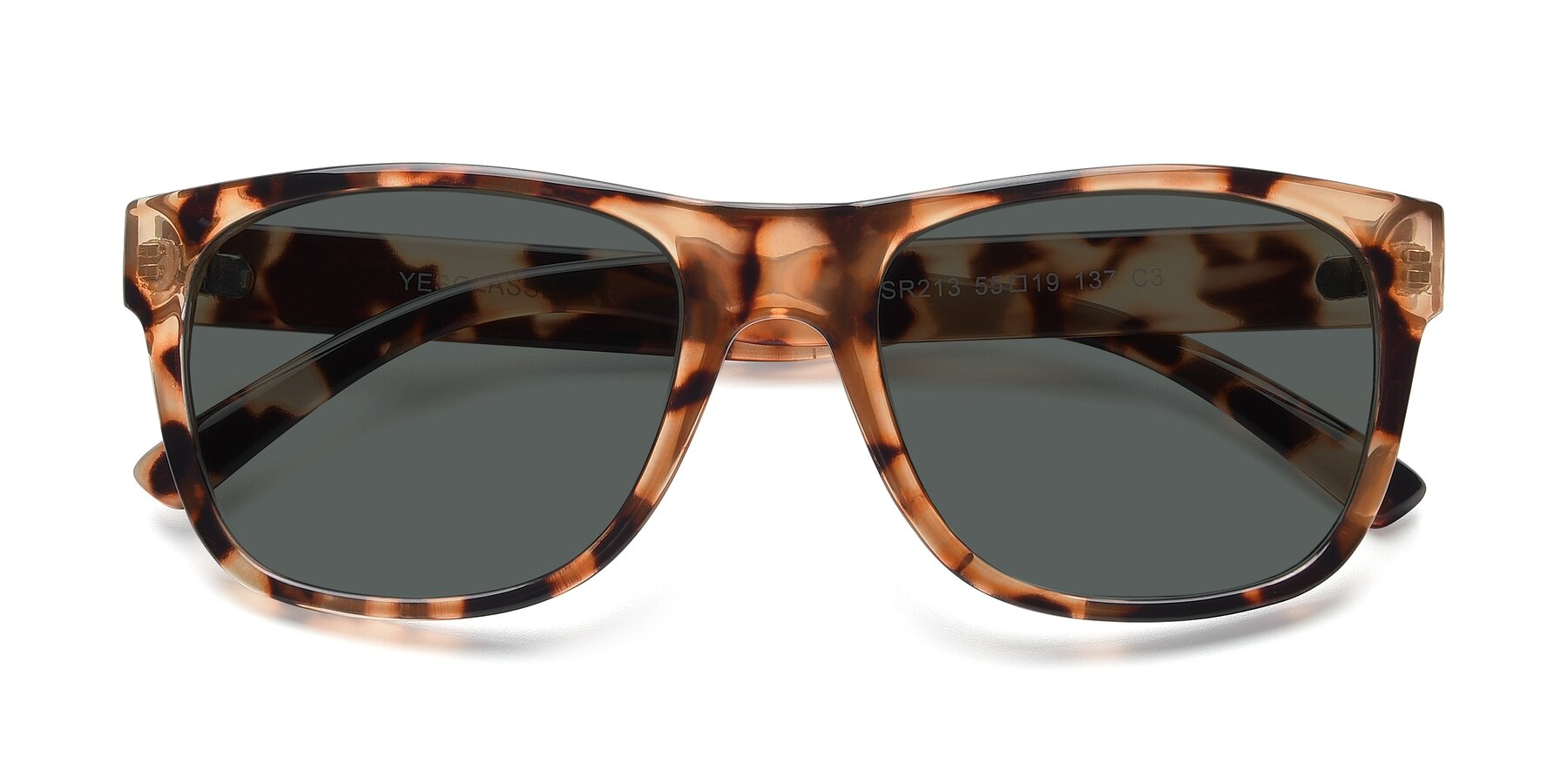 Folded Front of SSR213 in Translucent Tortoise with Gray Polarized Lenses