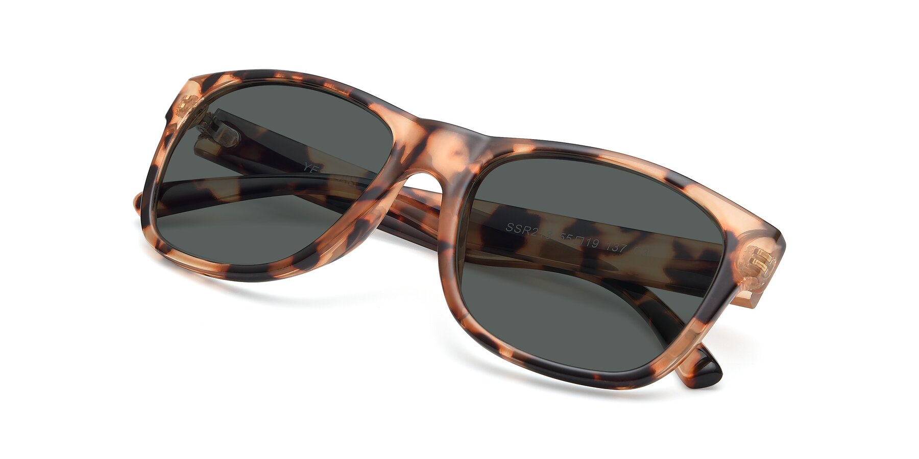 View of SSR213 in Translucent Tortoise with Gray Polarized Lenses