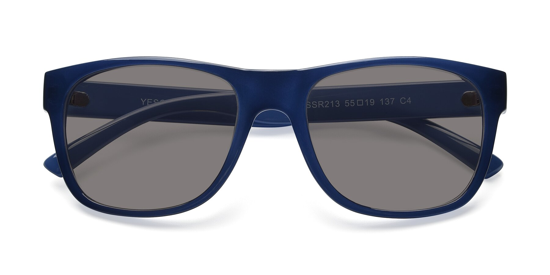 Folded Front of SSR213 in Blue with Medium Gray Tinted Lenses