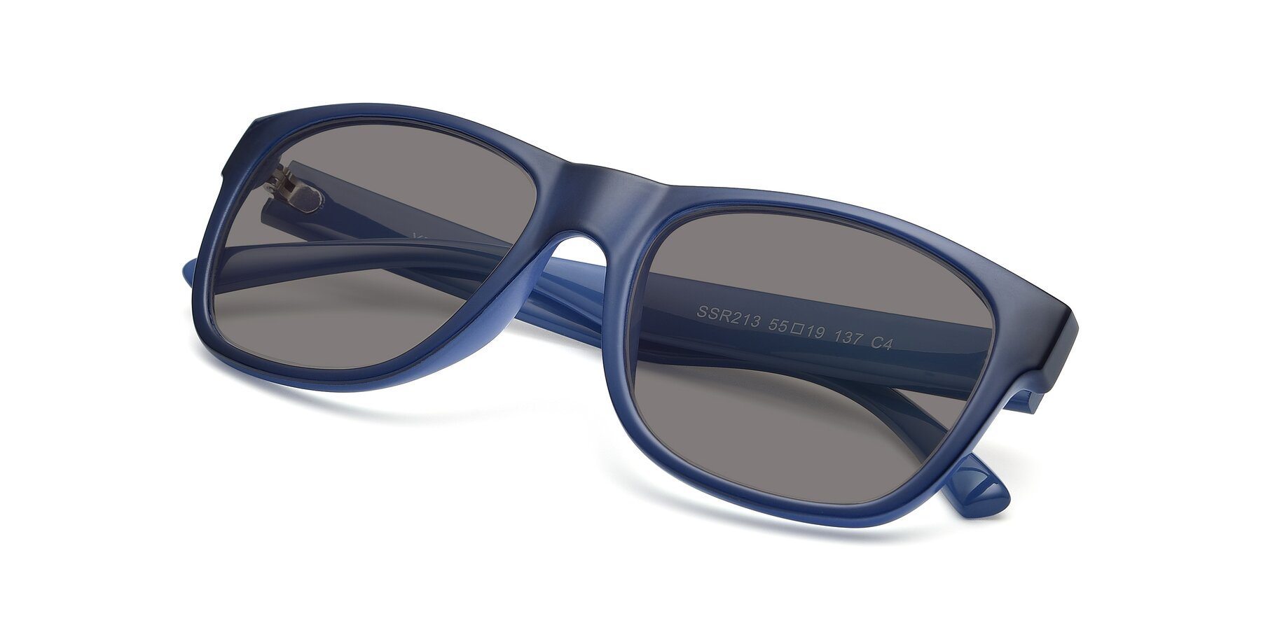 View of SSR213 in Blue with Medium Gray Tinted Lenses
