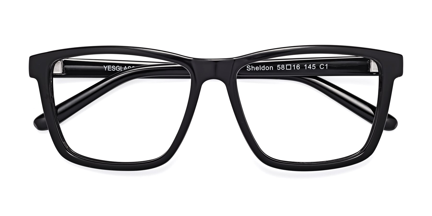 Folded Front of Sheldon in Black with Clear Blue Light Blocking Lenses