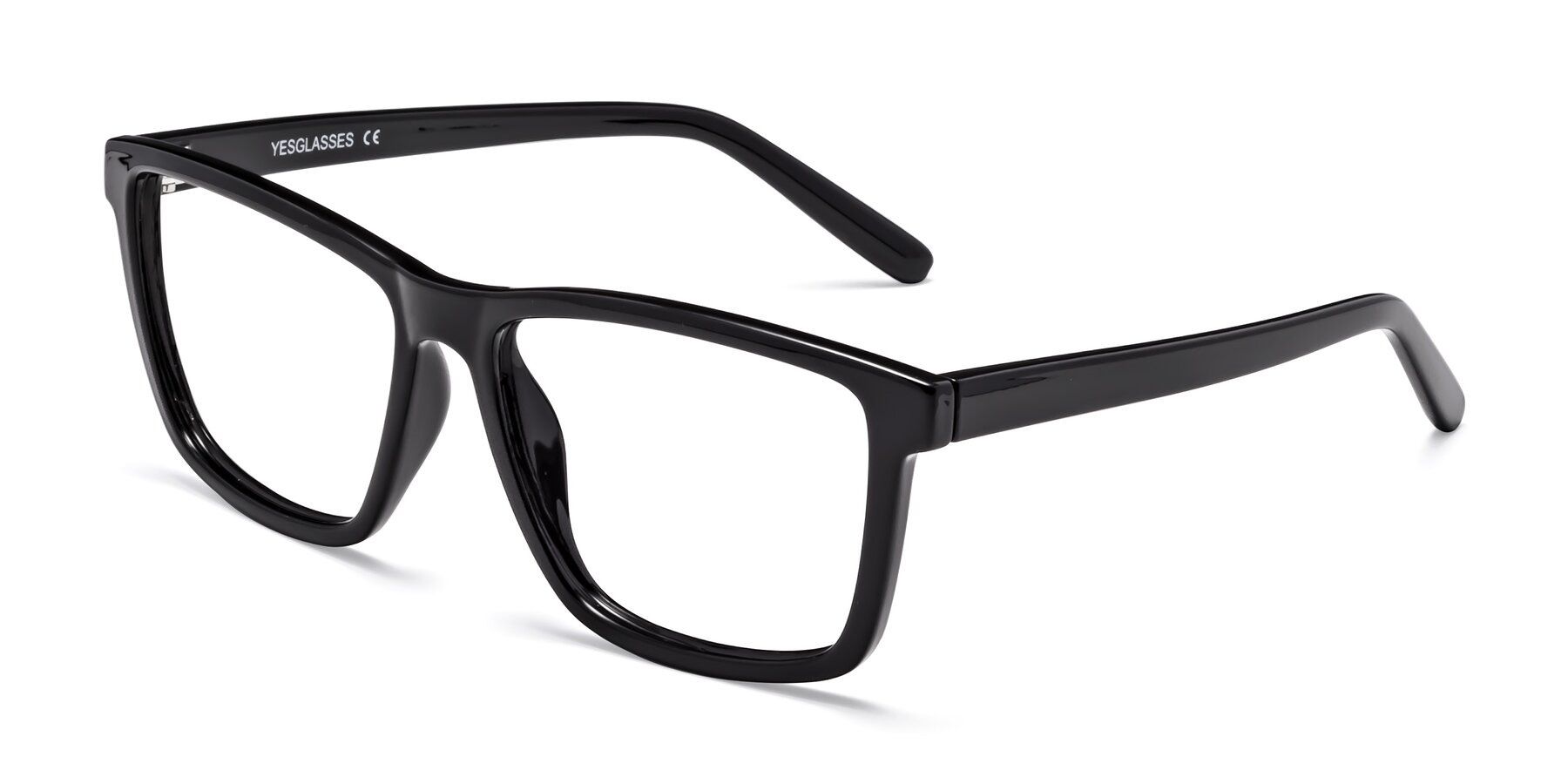 Angle of Sheldon in Black with Clear Blue Light Blocking Lenses