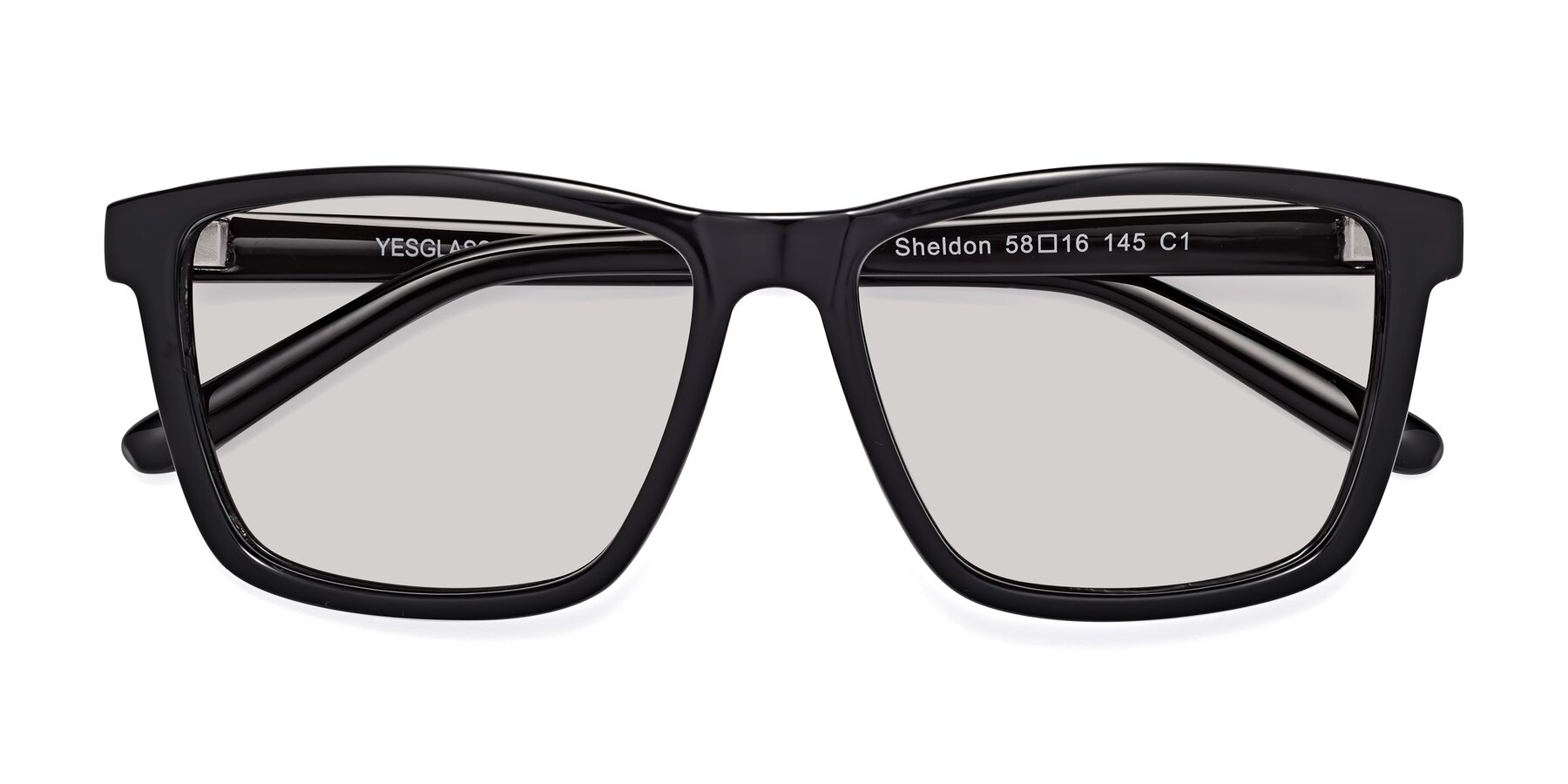 Folded Front of Sheldon in Black with Light Gray Tinted Lenses