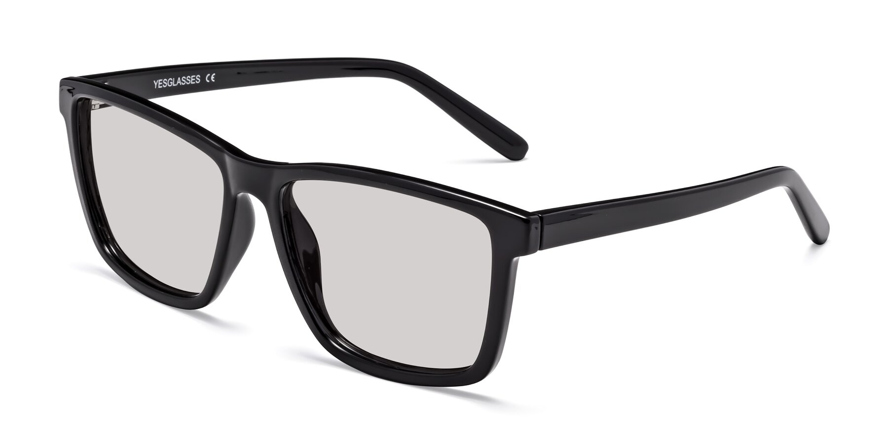 Angle of Sheldon in Black with Light Gray Tinted Lenses