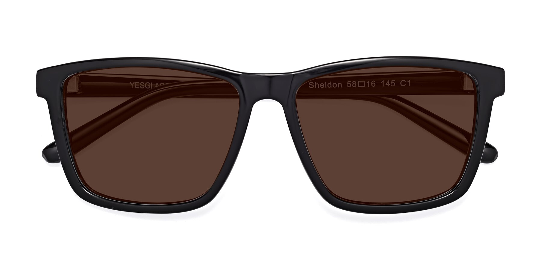 Folded Front of Sheldon in Black with Brown Tinted Lenses