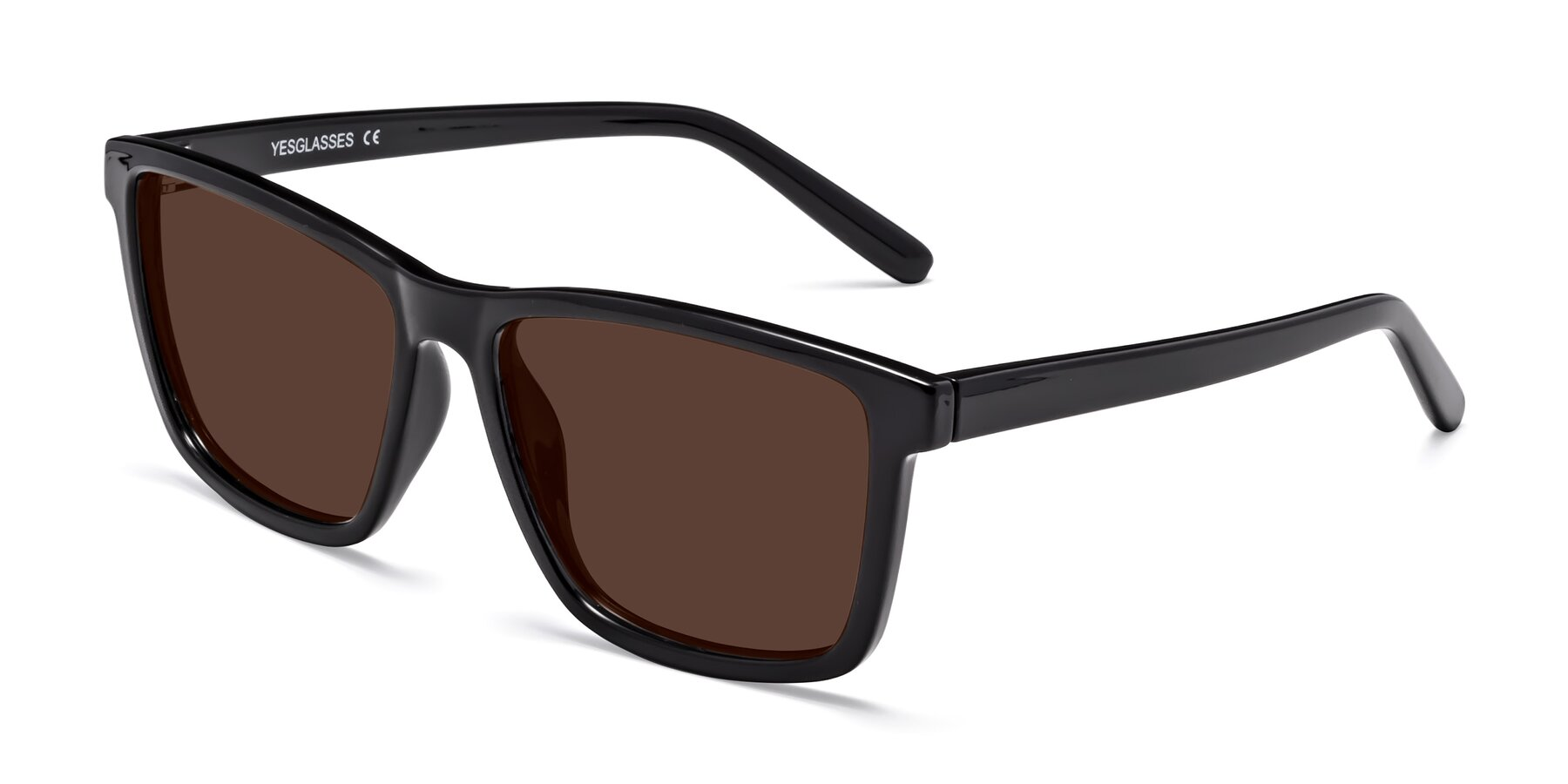 Angle of Sheldon in Black with Brown Tinted Lenses