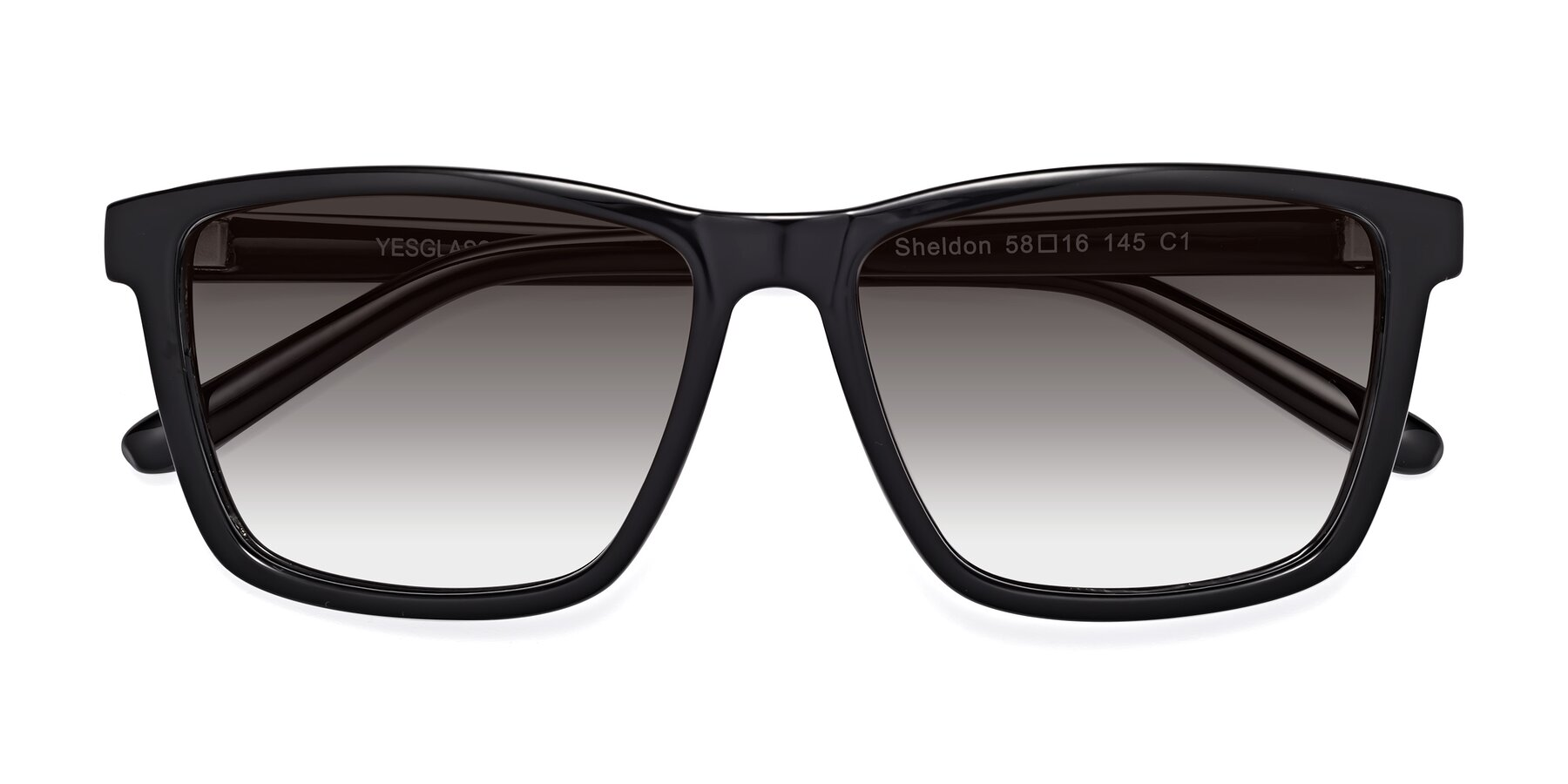 Folded Front of Sheldon in Black with Gray Gradient Lenses