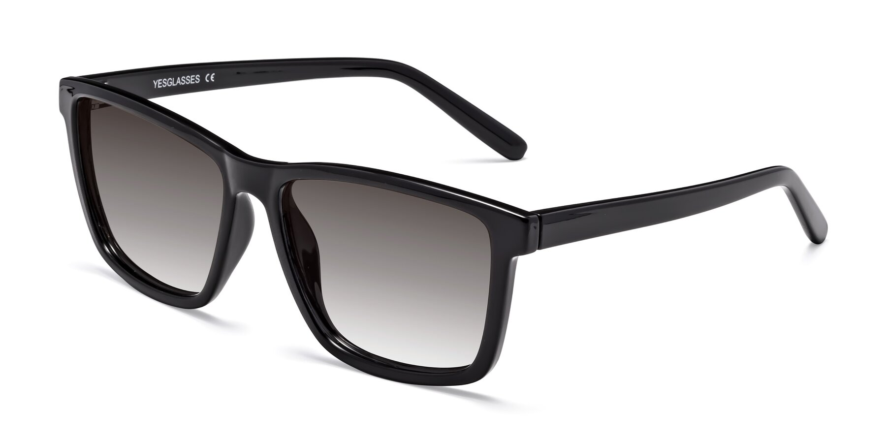 Angle of Sheldon in Black with Gray Gradient Lenses