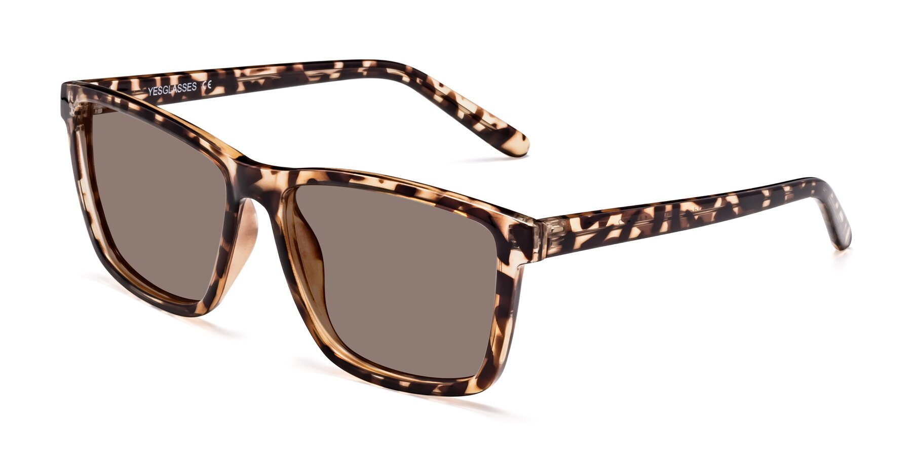 Angle of Sheldon in Tortoise with Medium Brown Tinted Lenses