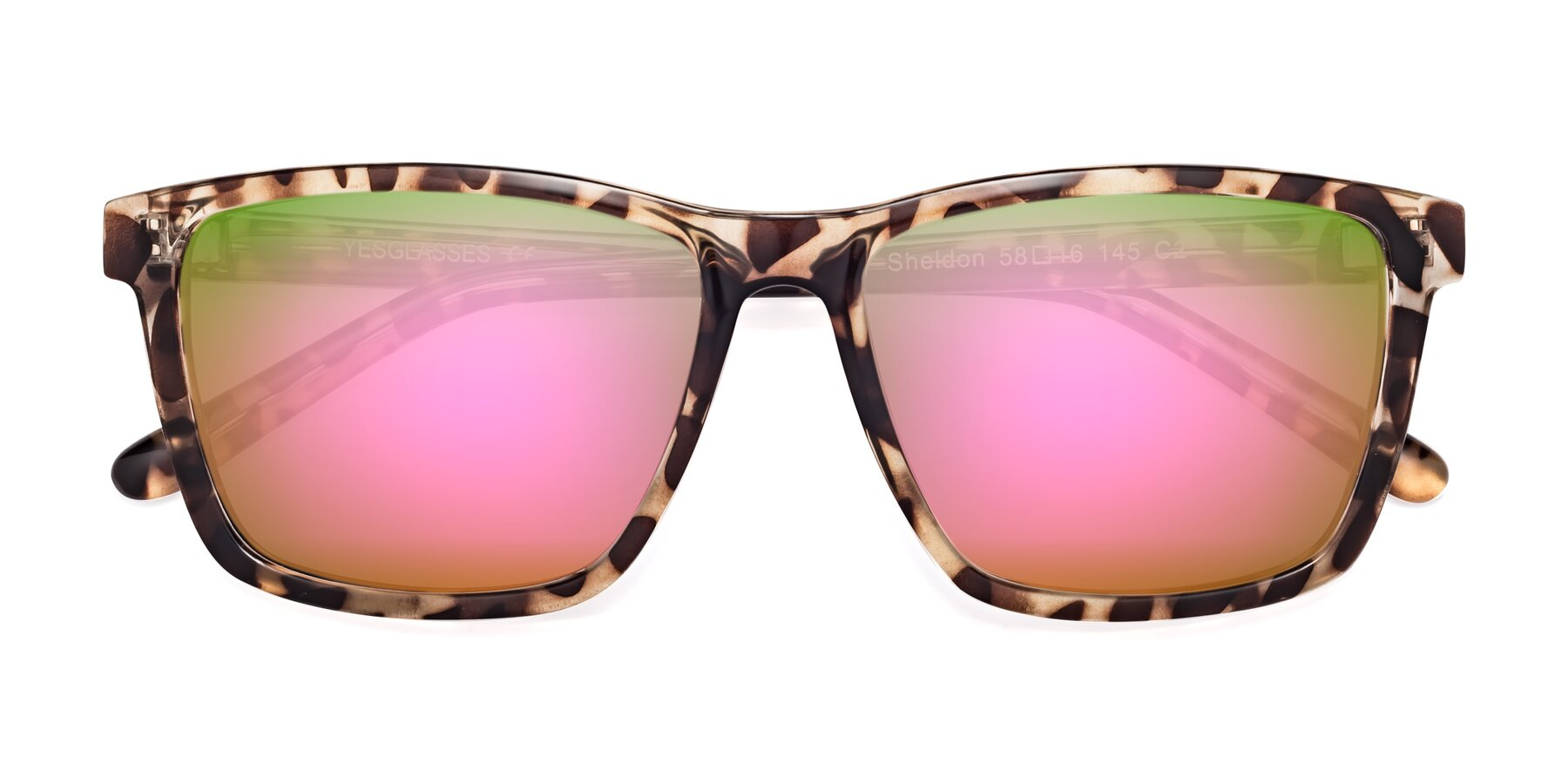 Folded Front of Sheldon in Tortoise with Pink Mirrored Lenses