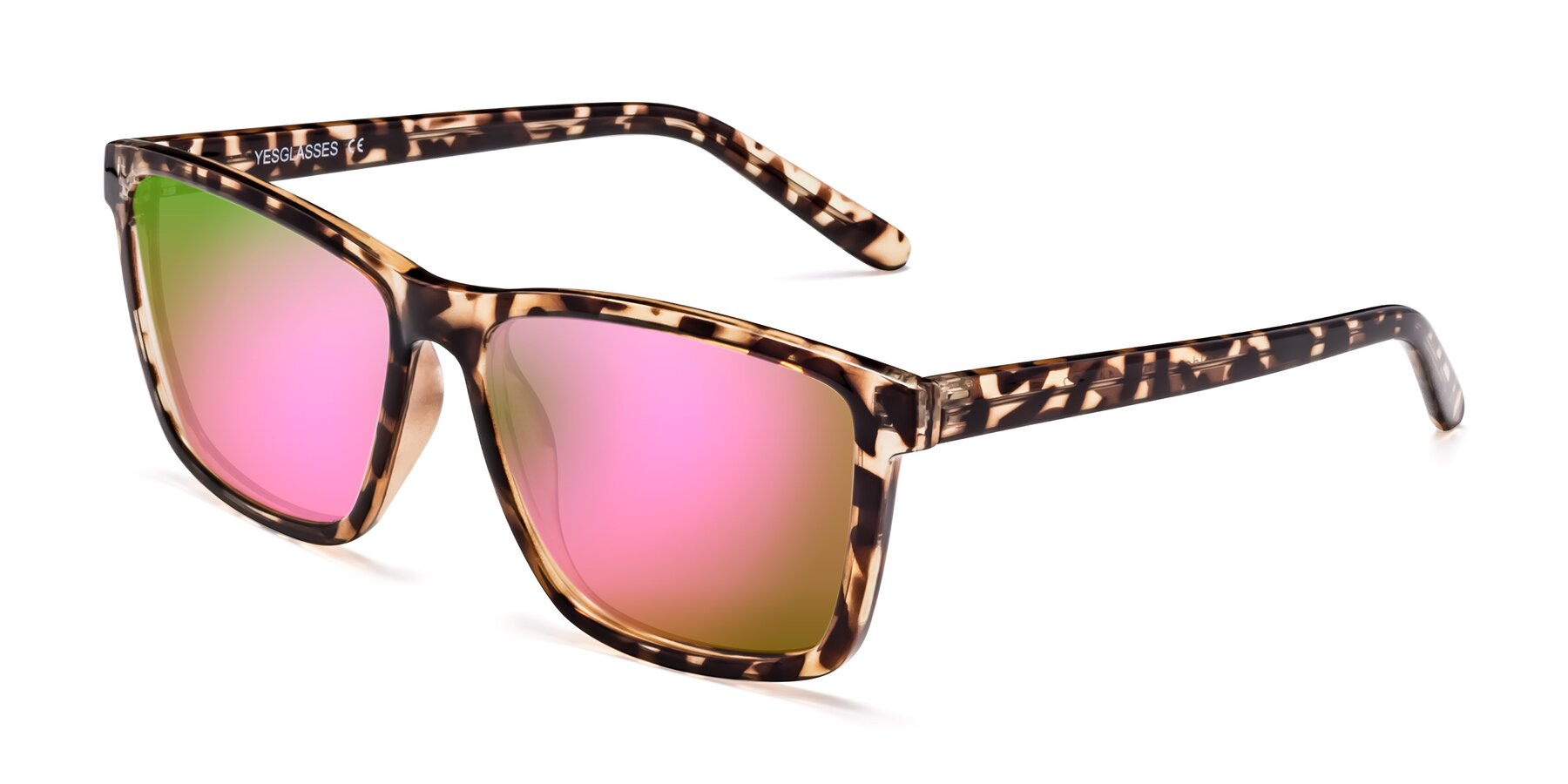 Angle of Sheldon in Tortoise with Pink Mirrored Lenses