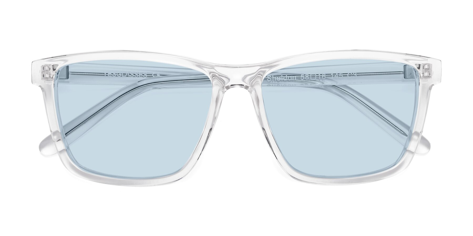 Folded Front of Sheldon in Clear with Light Blue Tinted Lenses