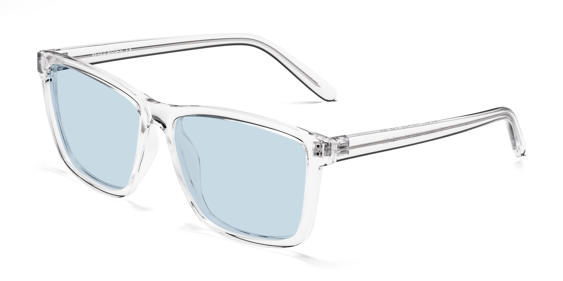 Angle of Sheldon in Clear with Light Blue Tinted Lenses