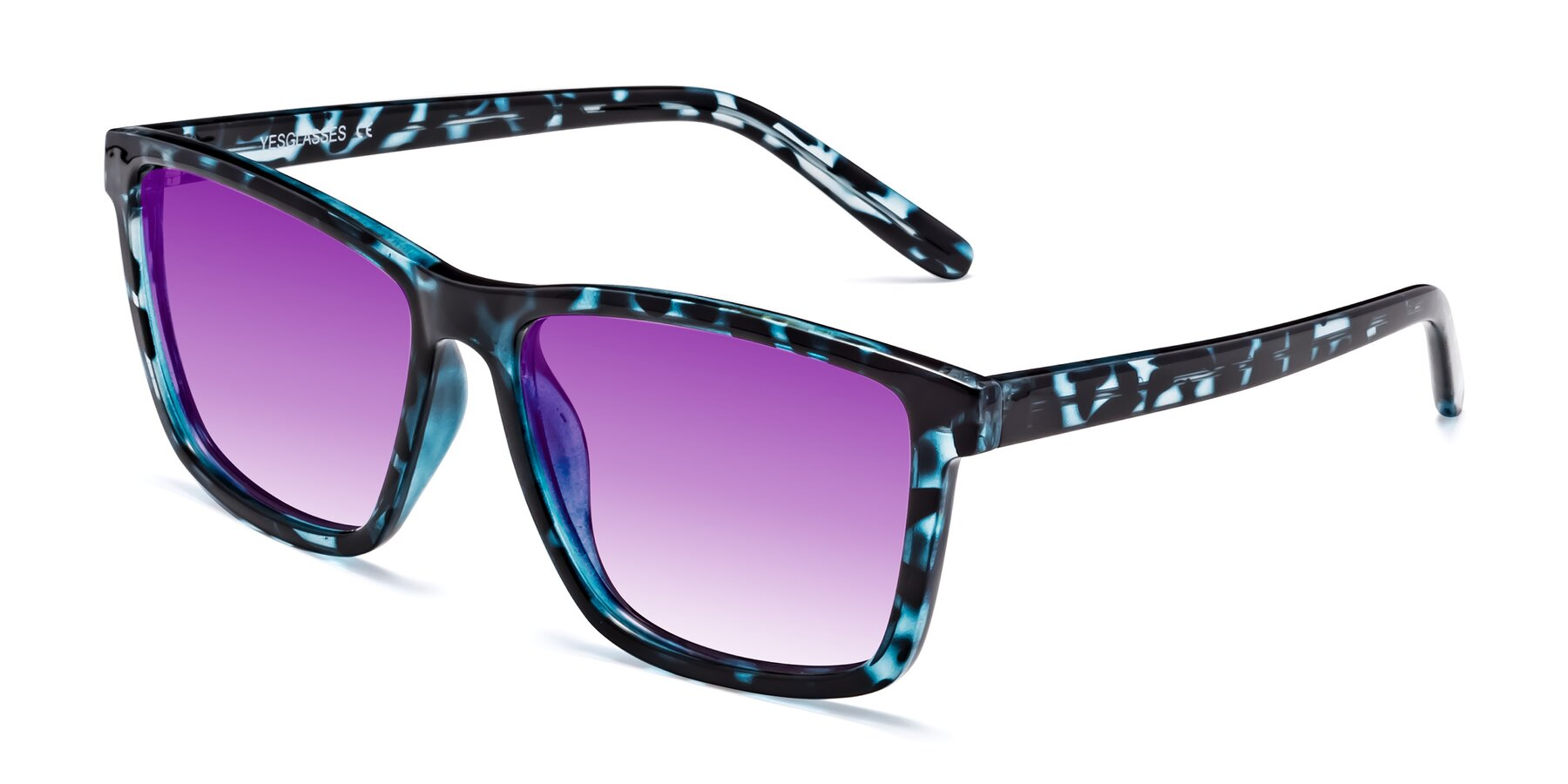 Angle of Sheldon in Blue Tortoise with Purple Gradient Lenses