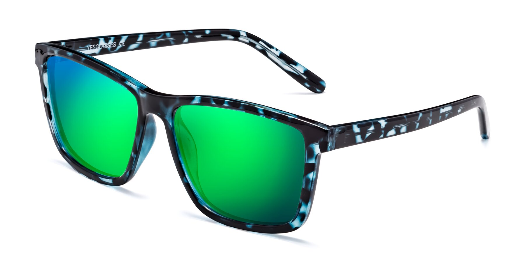 Angle of Sheldon in Blue Tortoise with Green Mirrored Lenses