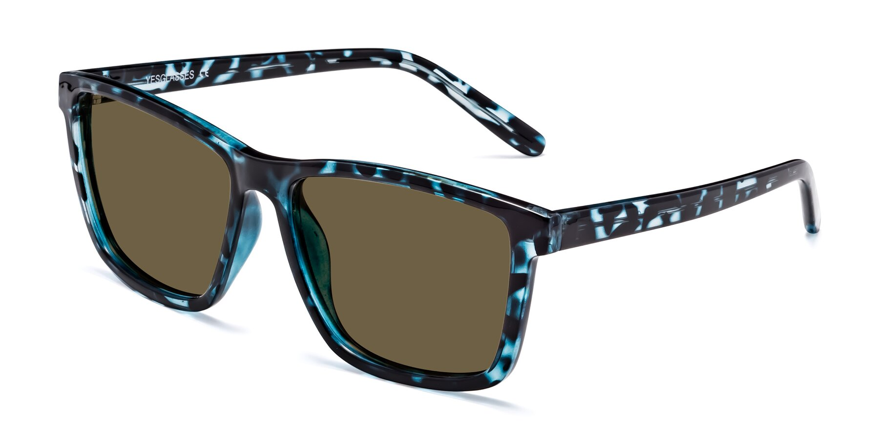 Angle of Sheldon in Blue Tortoise with Brown Polarized Lenses
