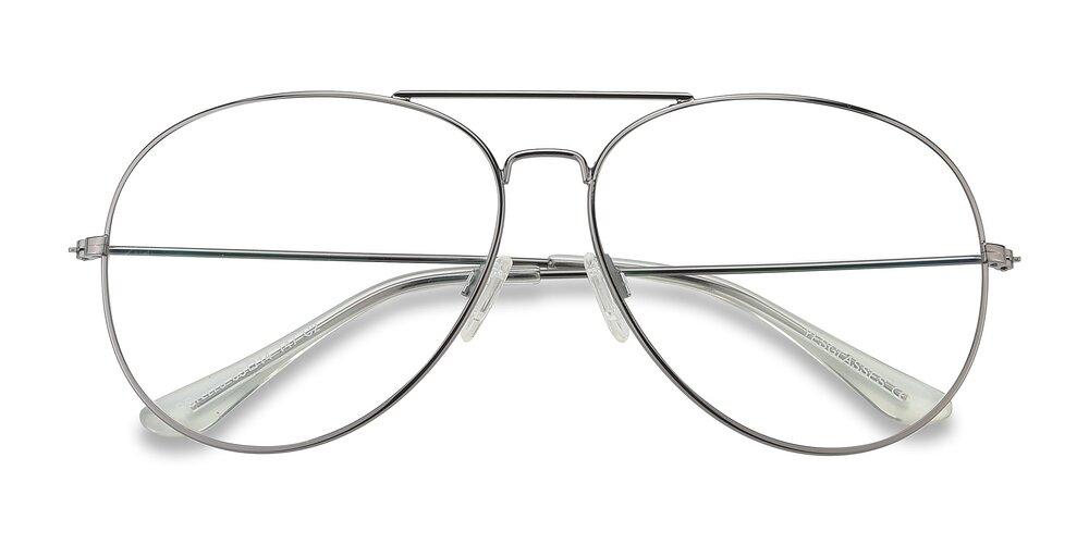 Gunmetal Oversized Grandpa Metal Aviator Eyeglasses