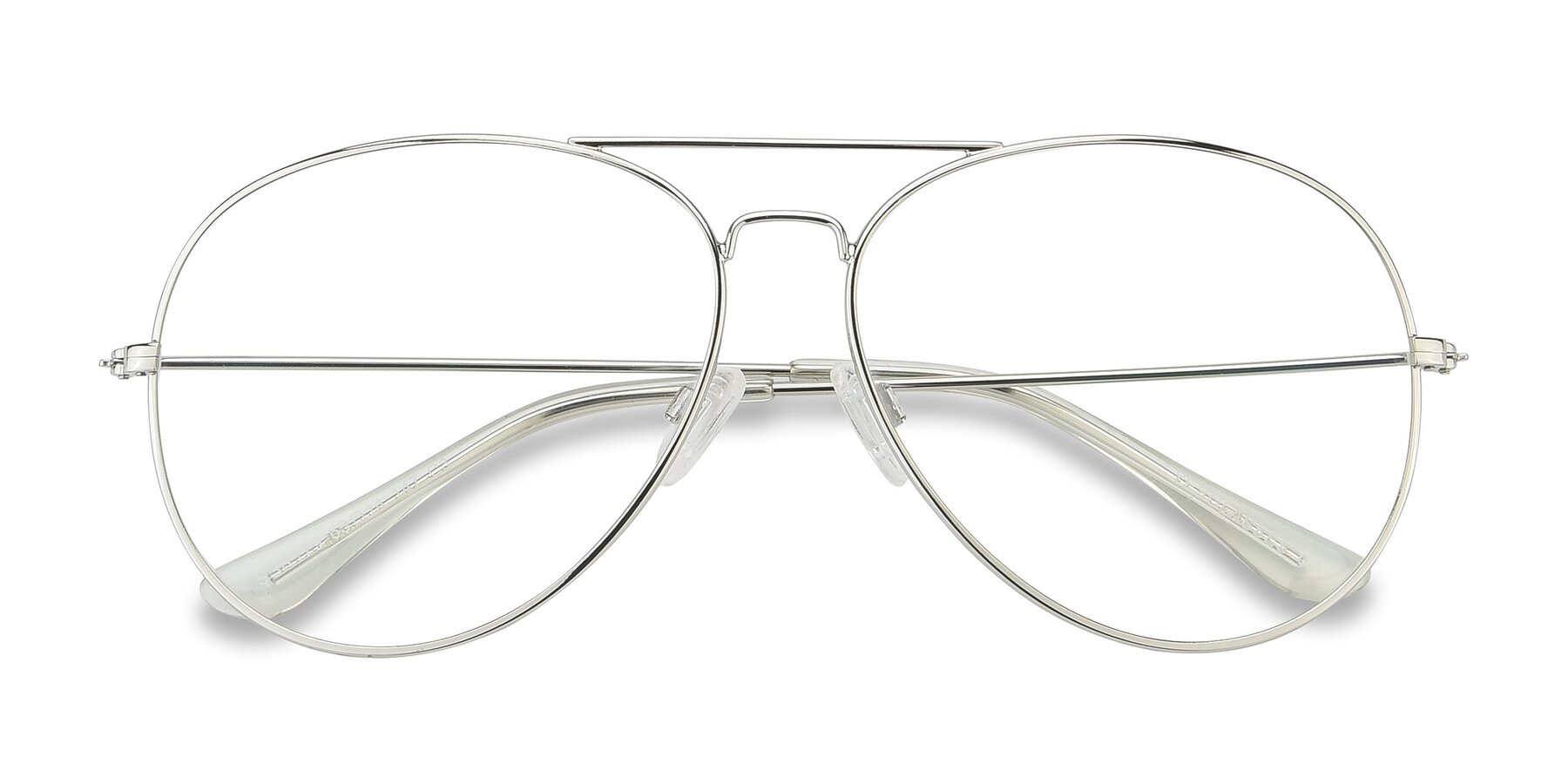 Folded Front of SSR179 in Silver with Clear Eyeglass Lenses