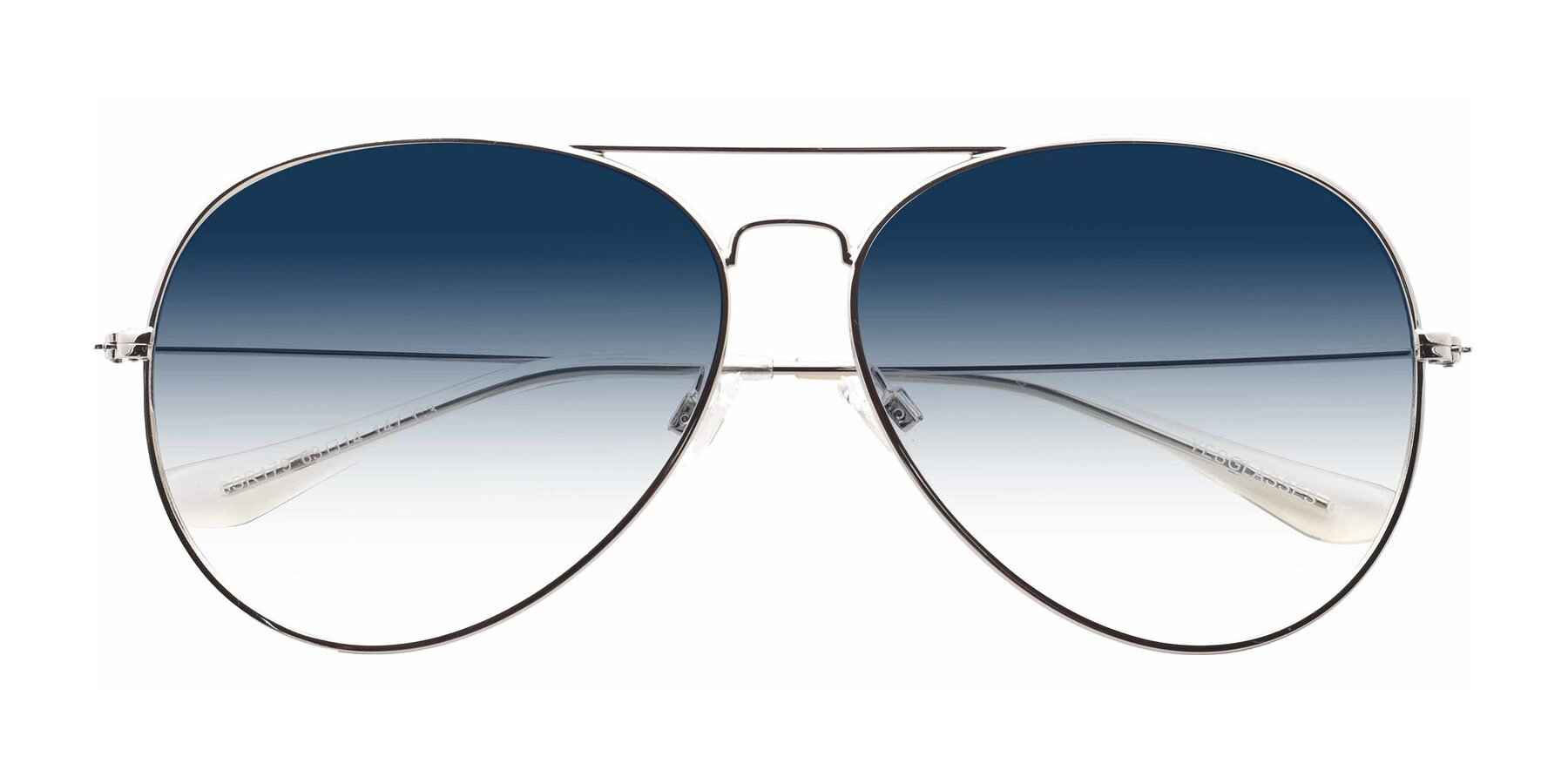 Folded Front of SSR179 in Silver with Blue Gradient Lenses