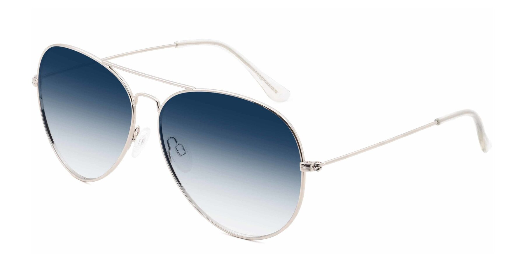 Angle of SSR179 in Silver with Blue Gradient Lenses