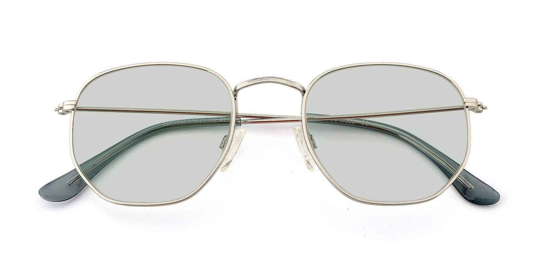 Folded Front of SSR1943 in Silver with Light Green Tinted Lenses