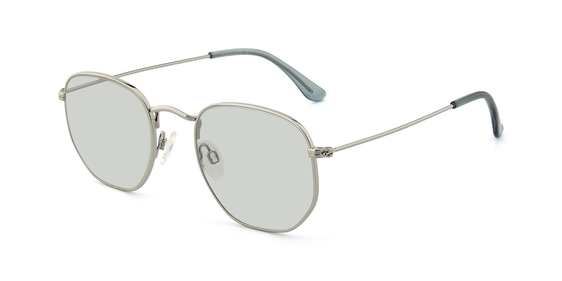 Angle of SSR1943 in Silver with Light Green Tinted Lenses