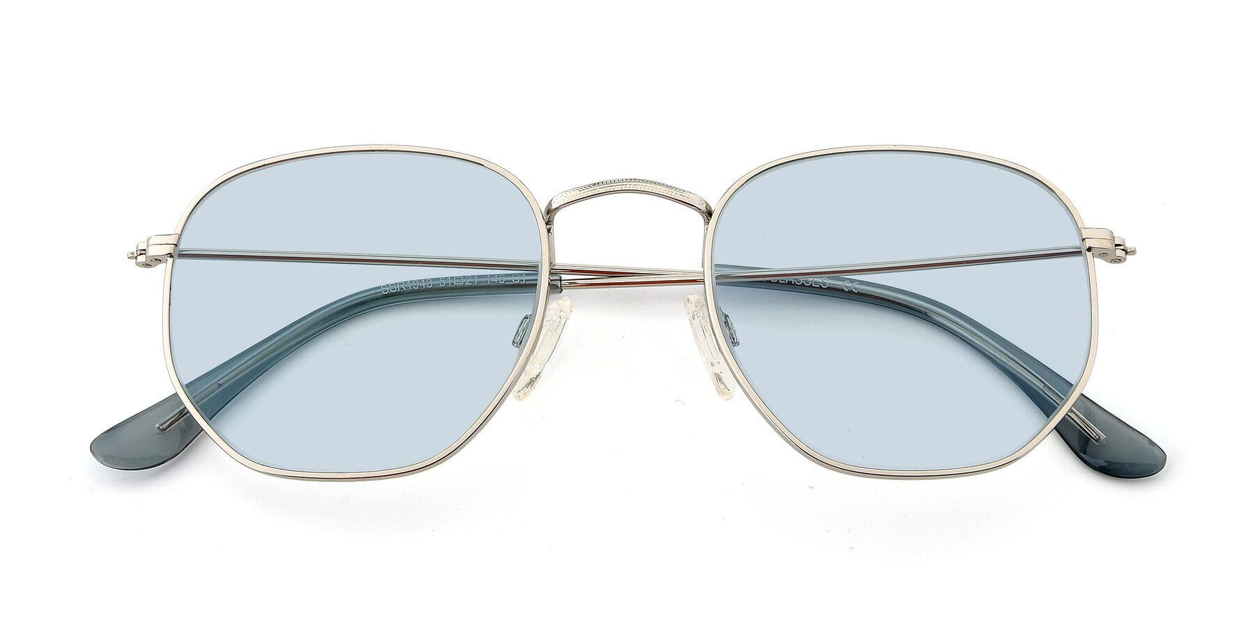 Folded Front of SSR1943 in Silver with Light Blue Tinted Lenses