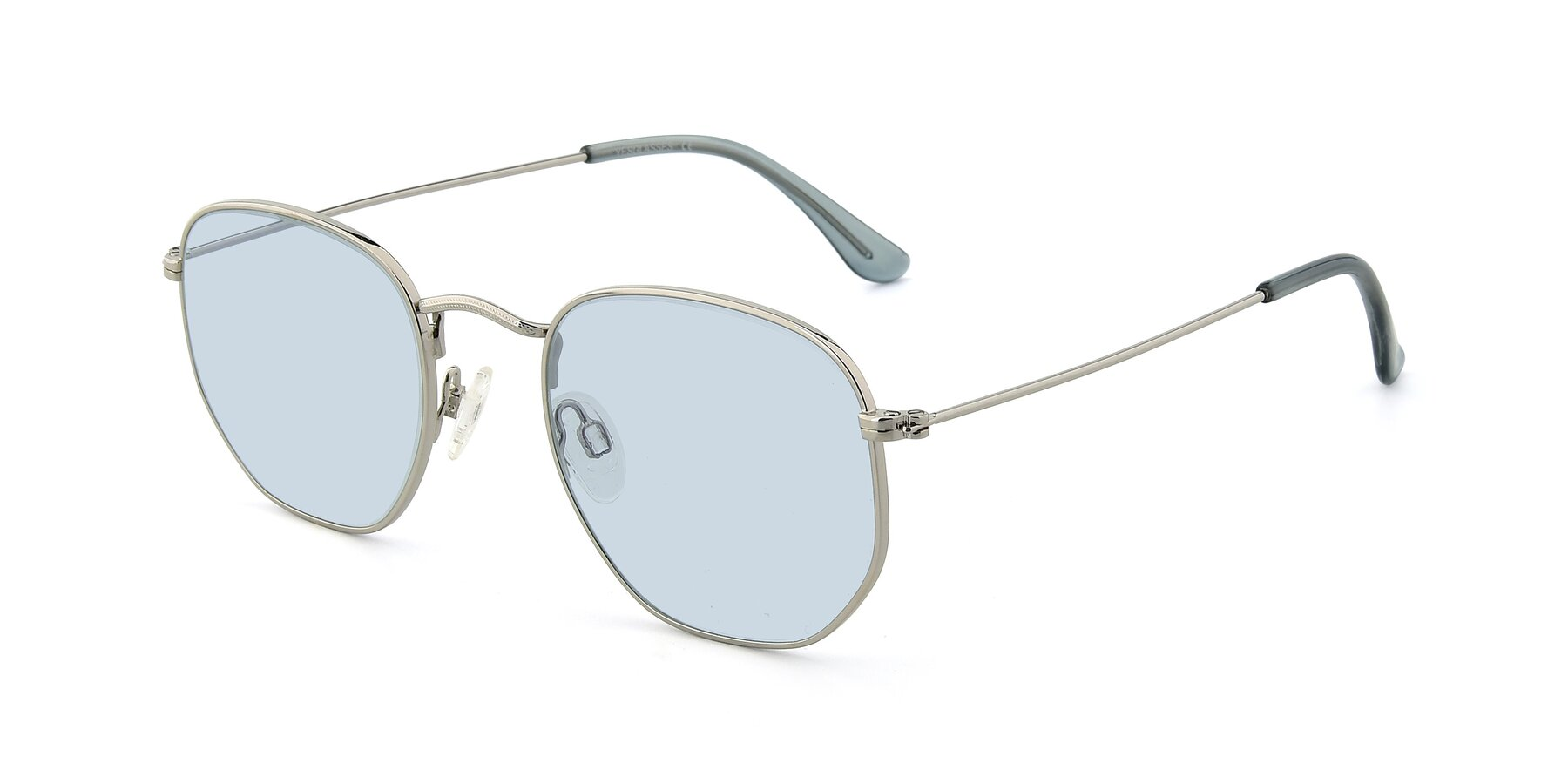 Angle of SSR1943 in Silver with Light Blue Tinted Lenses