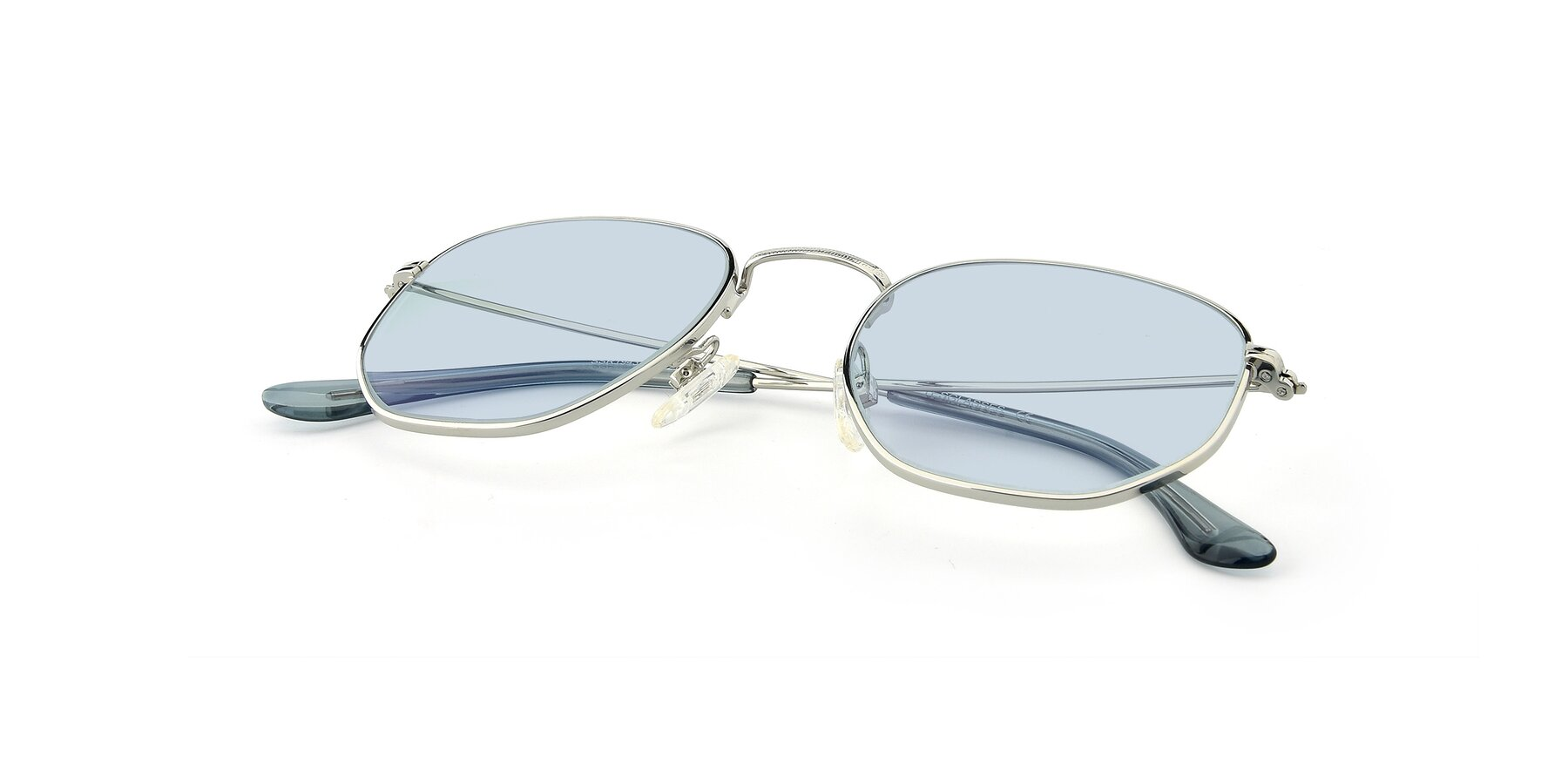 View of SSR1943 in Silver with Light Blue Tinted Lenses