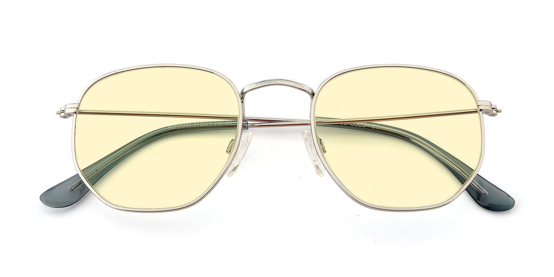Folded Front of SSR1943 in Silver with Light Yellow Tinted Lenses