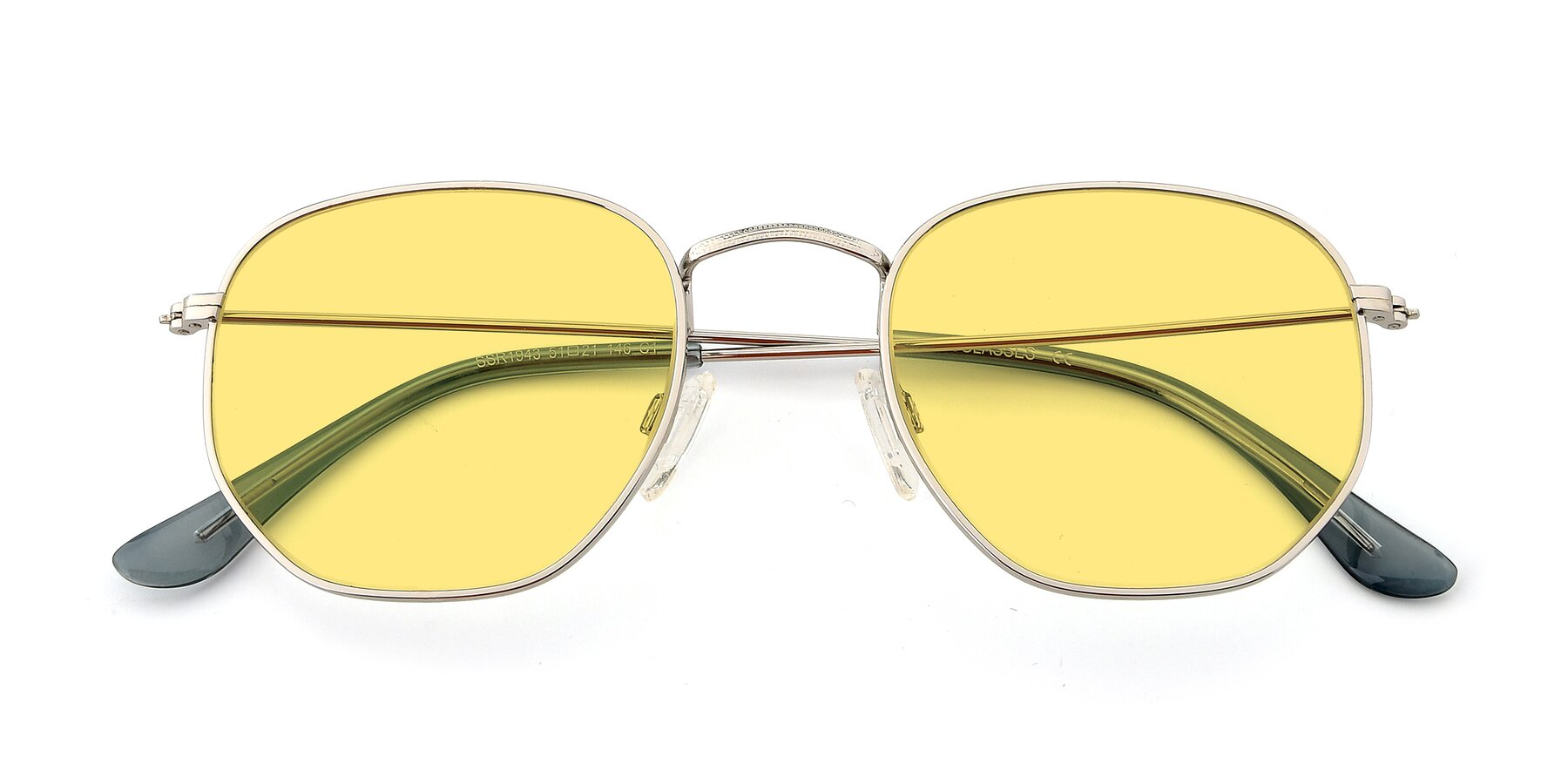 Folded Front of SSR1943 in Silver with Medium Yellow Tinted Lenses