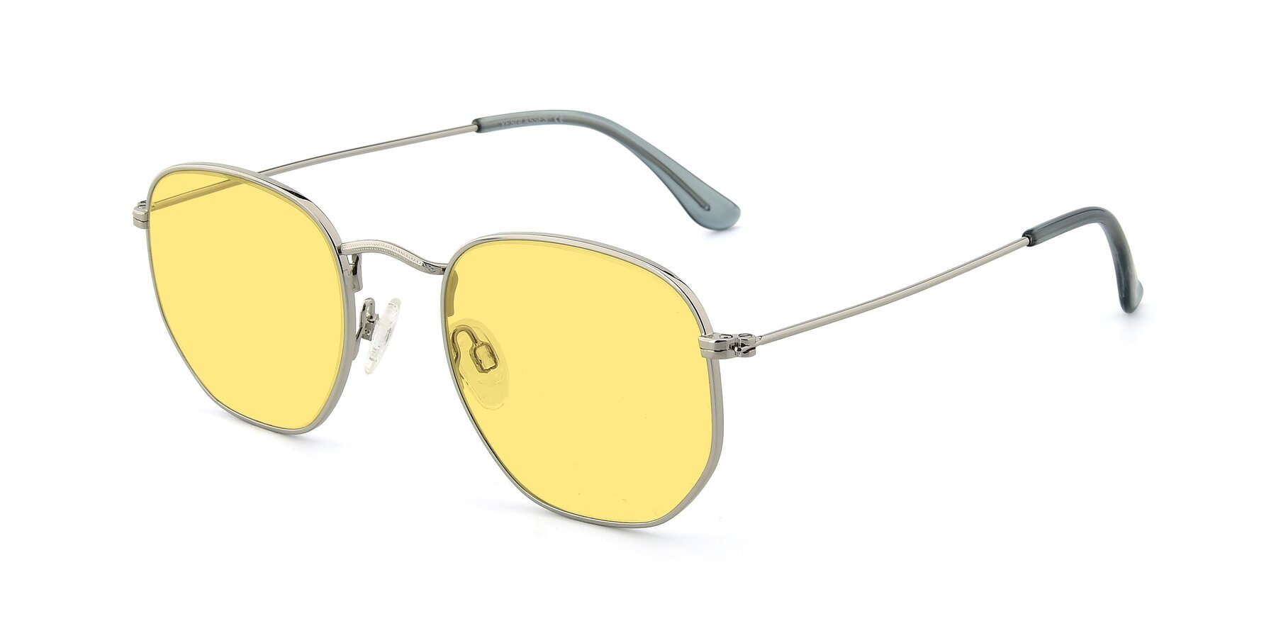 Angle of SSR1943 in Silver with Medium Yellow Tinted Lenses