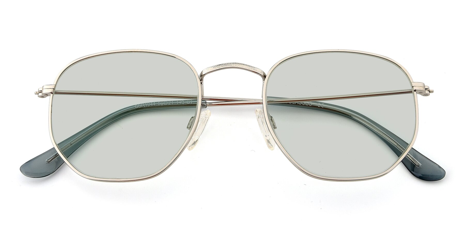 Folded Front of SSR1944 in Silver with Light Green Tinted Lenses