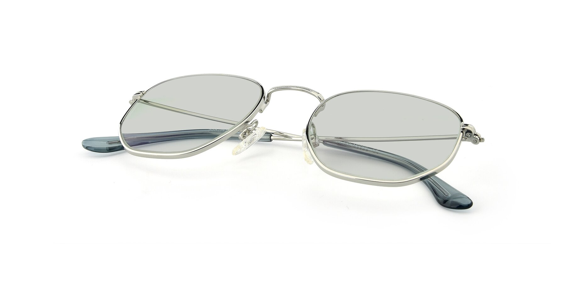 View of SSR1944 in Silver with Light Green Tinted Lenses