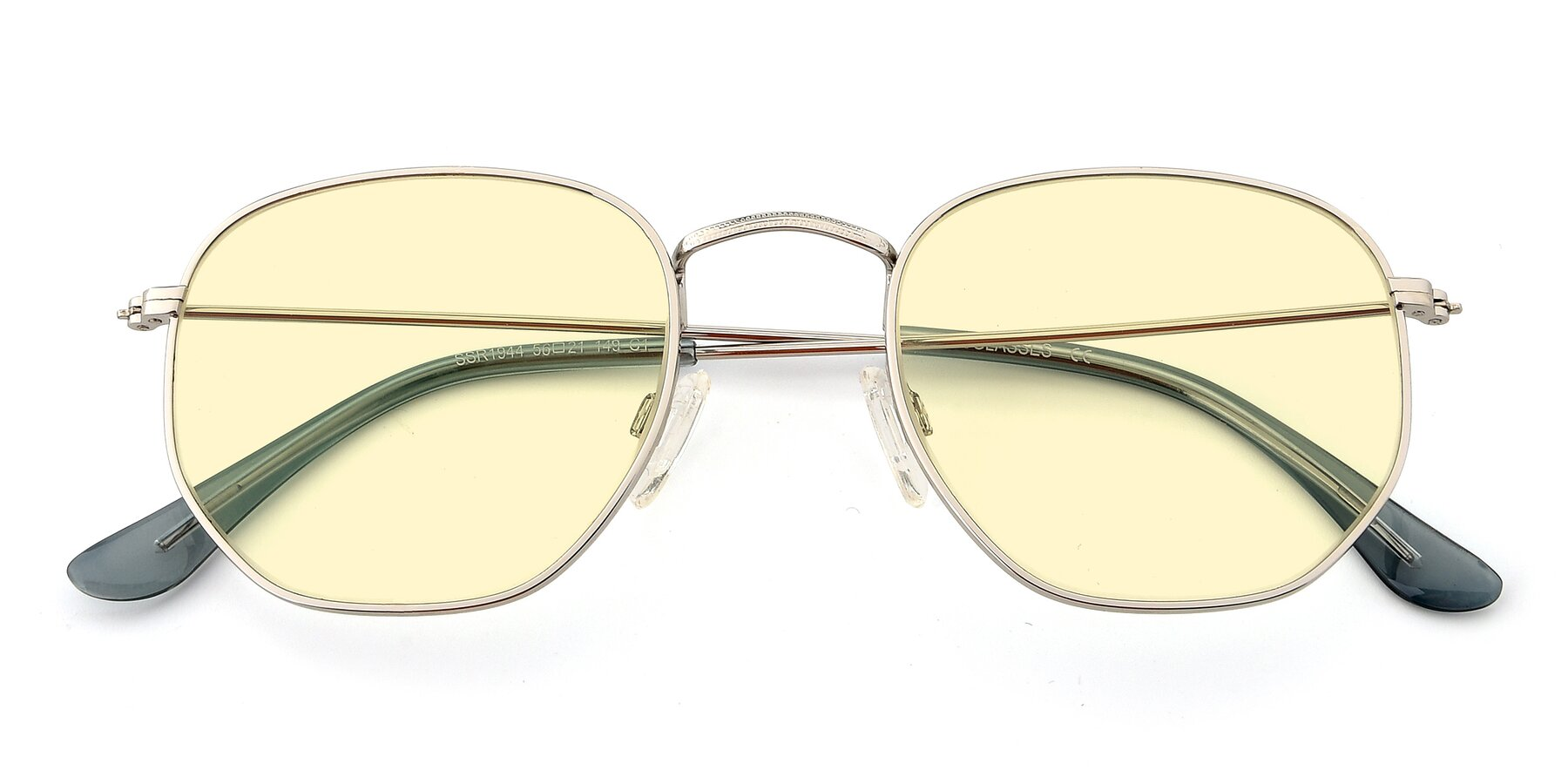 Folded Front of SSR1944 in Silver with Light Yellow Tinted Lenses