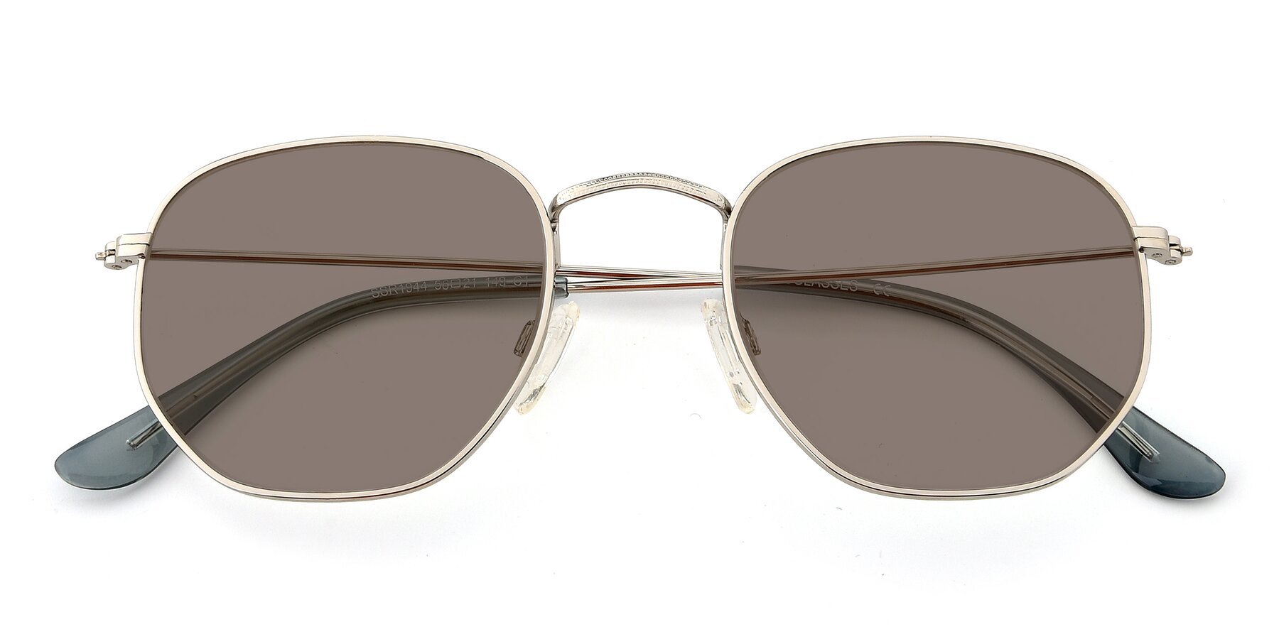 Folded Front of SSR1944 in Silver with Medium Brown Tinted Lenses