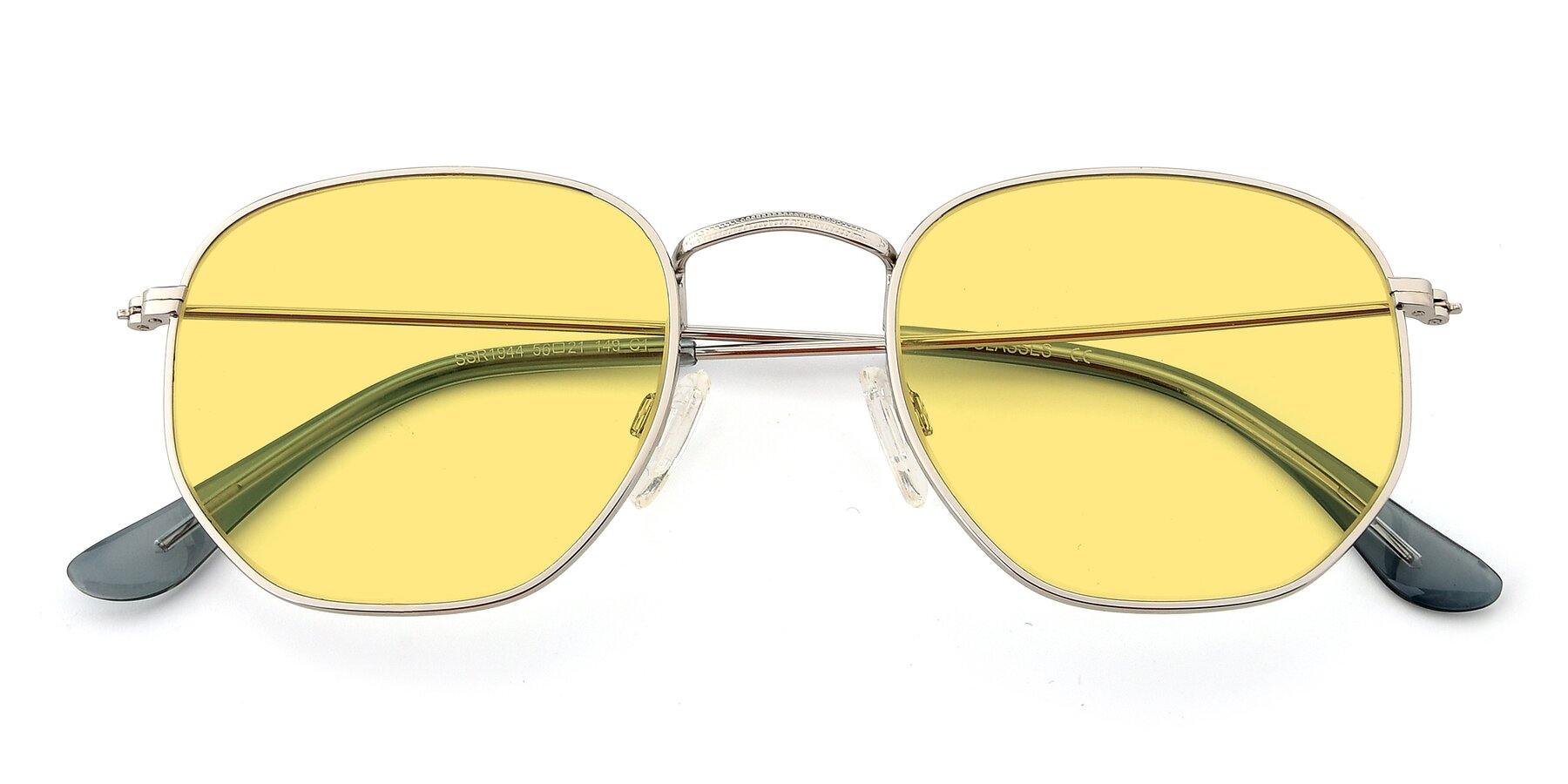 Folded Front of SSR1944 in Silver with Medium Yellow Tinted Lenses