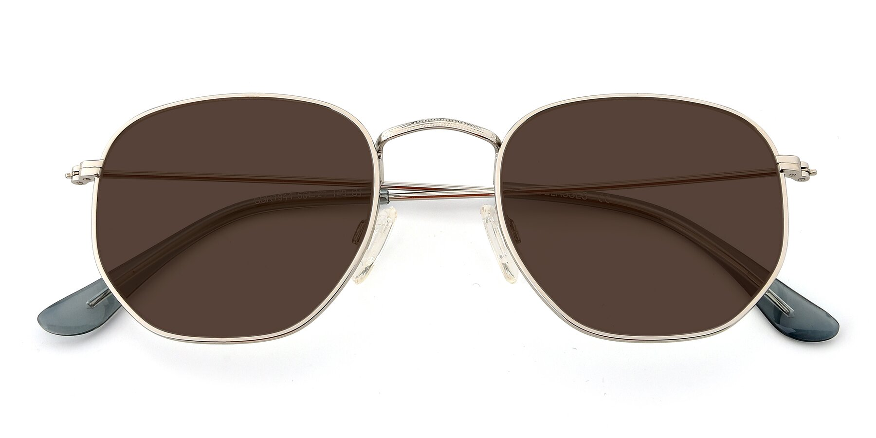 Folded Front of SSR1944 in Silver with Brown Tinted Lenses