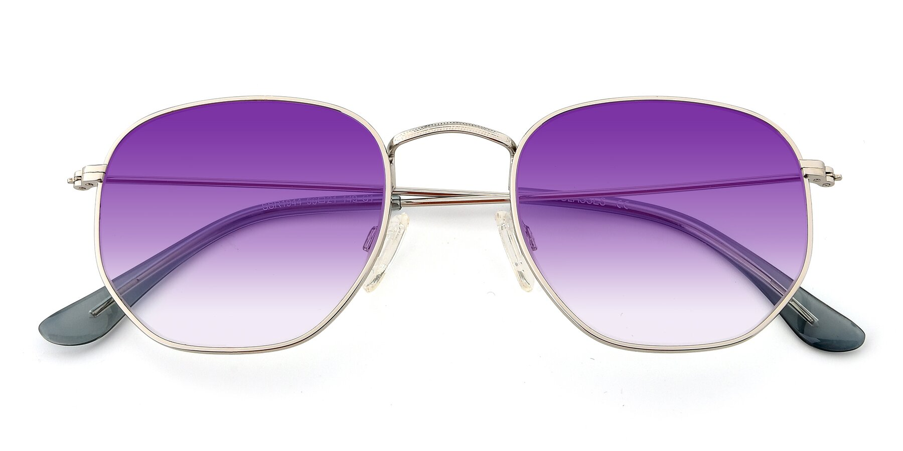 Folded Front of SSR1944 in Silver with Purple Gradient Lenses
