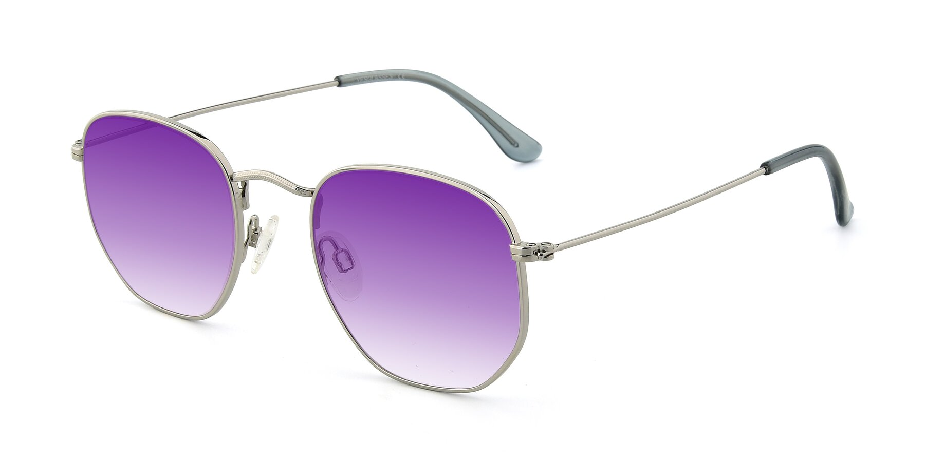 Angle of SSR1944 in Silver with Purple Gradient Lenses