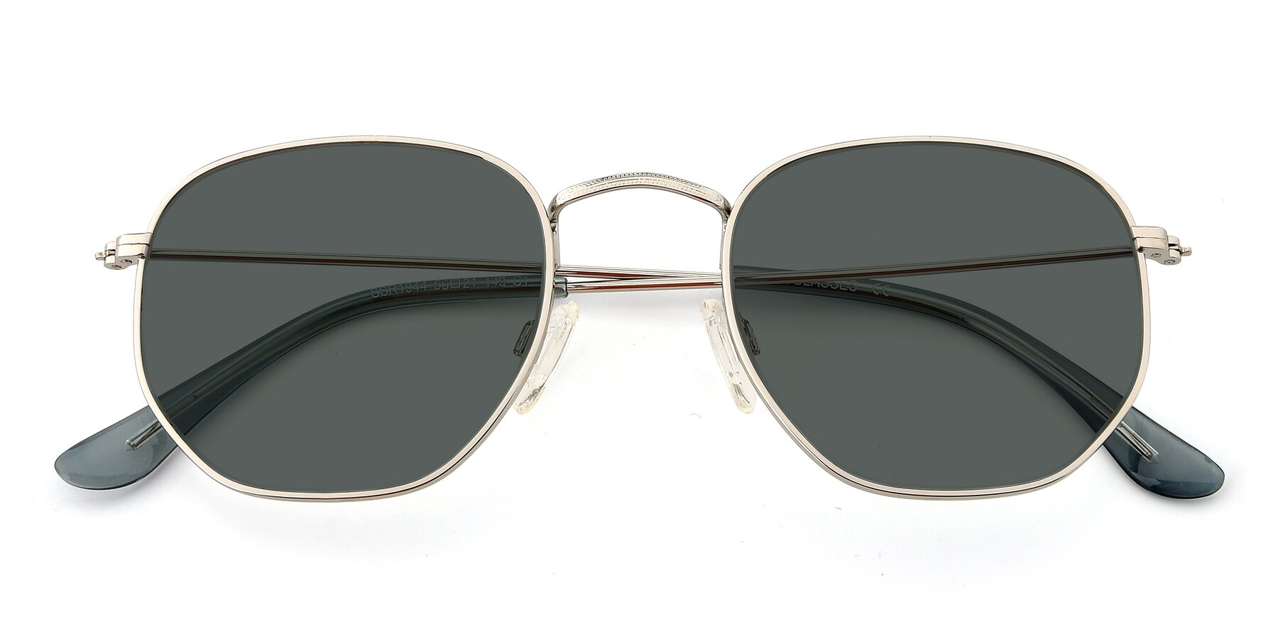 Folded Front of SSR1944 in Silver with Gray Polarized Lenses