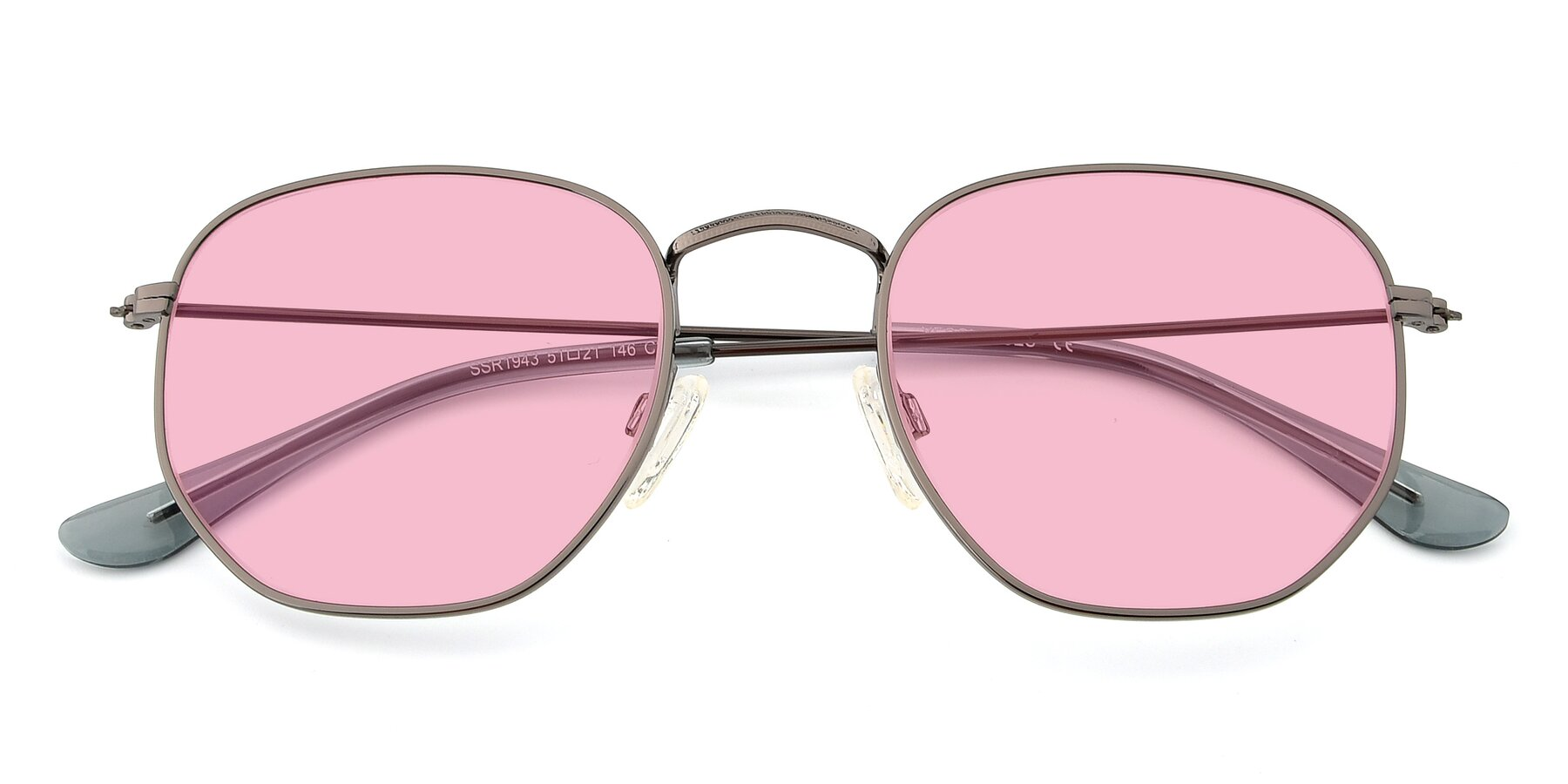 Folded Front of SSR1944 in Grey with Medium Pink Tinted Lenses